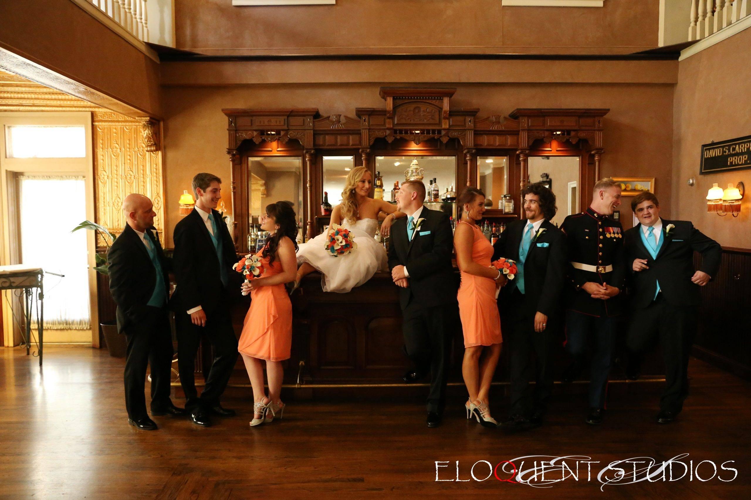 David's Country Inn bridal party in bar