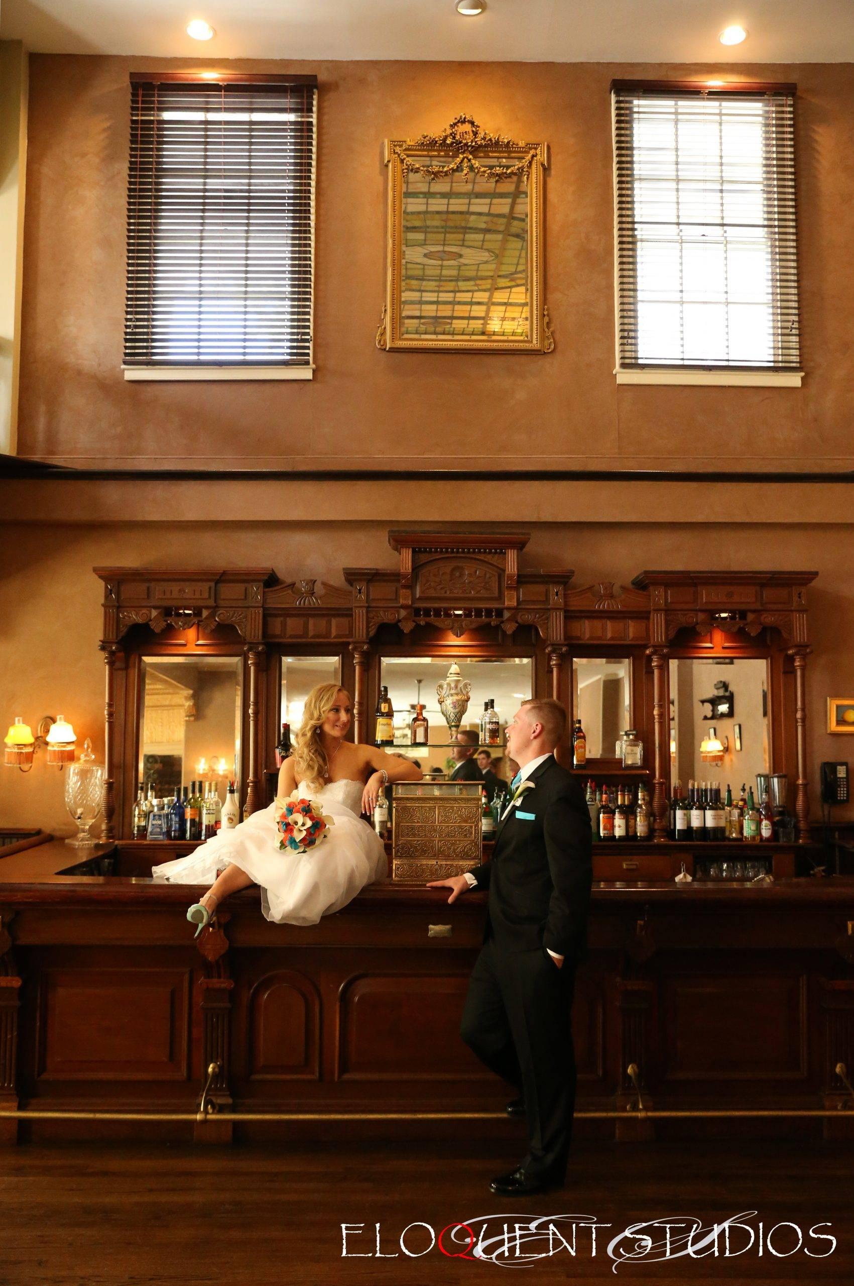 David's Country Inn wedding couple in bar