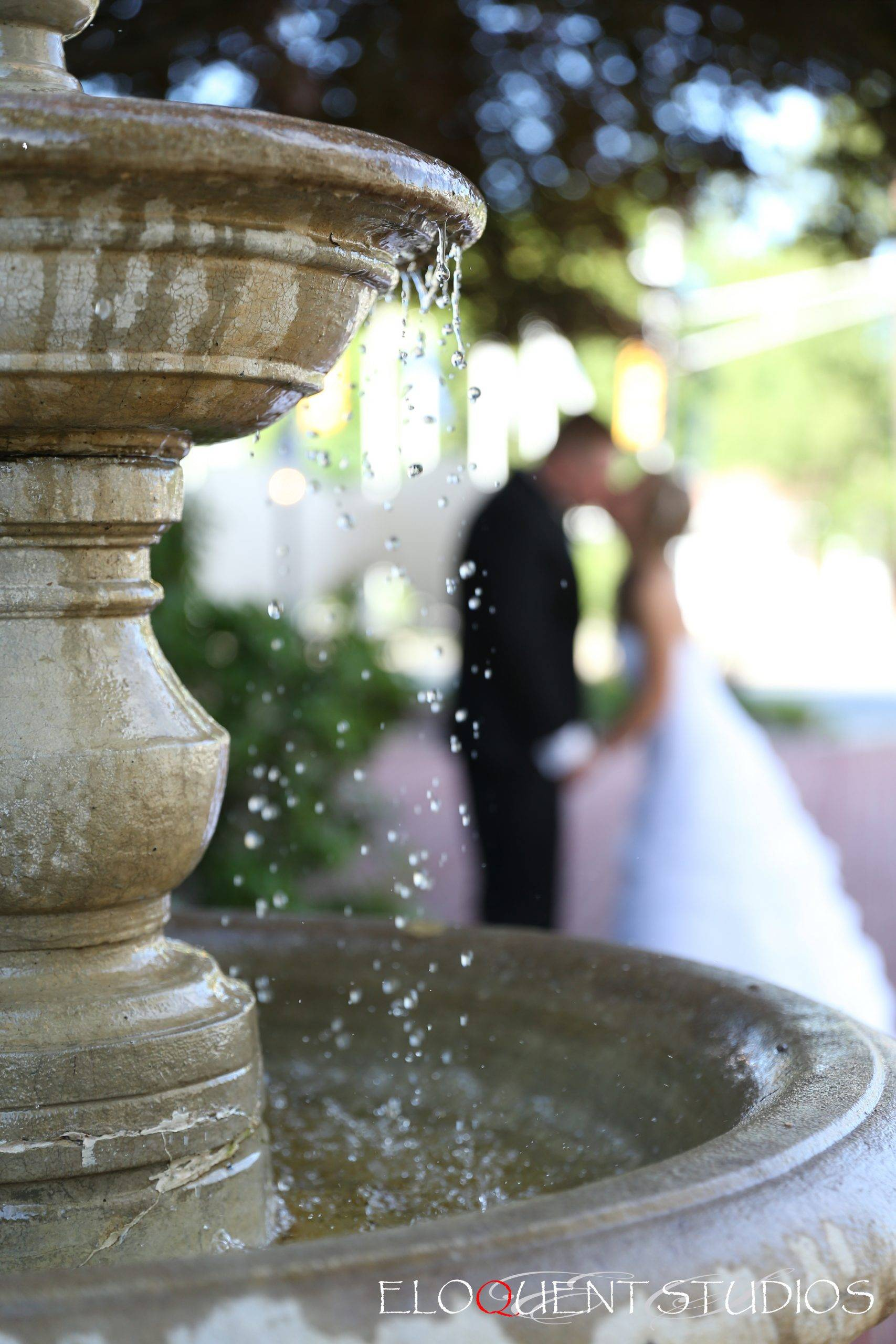David's Country Inn kiss by the fountain