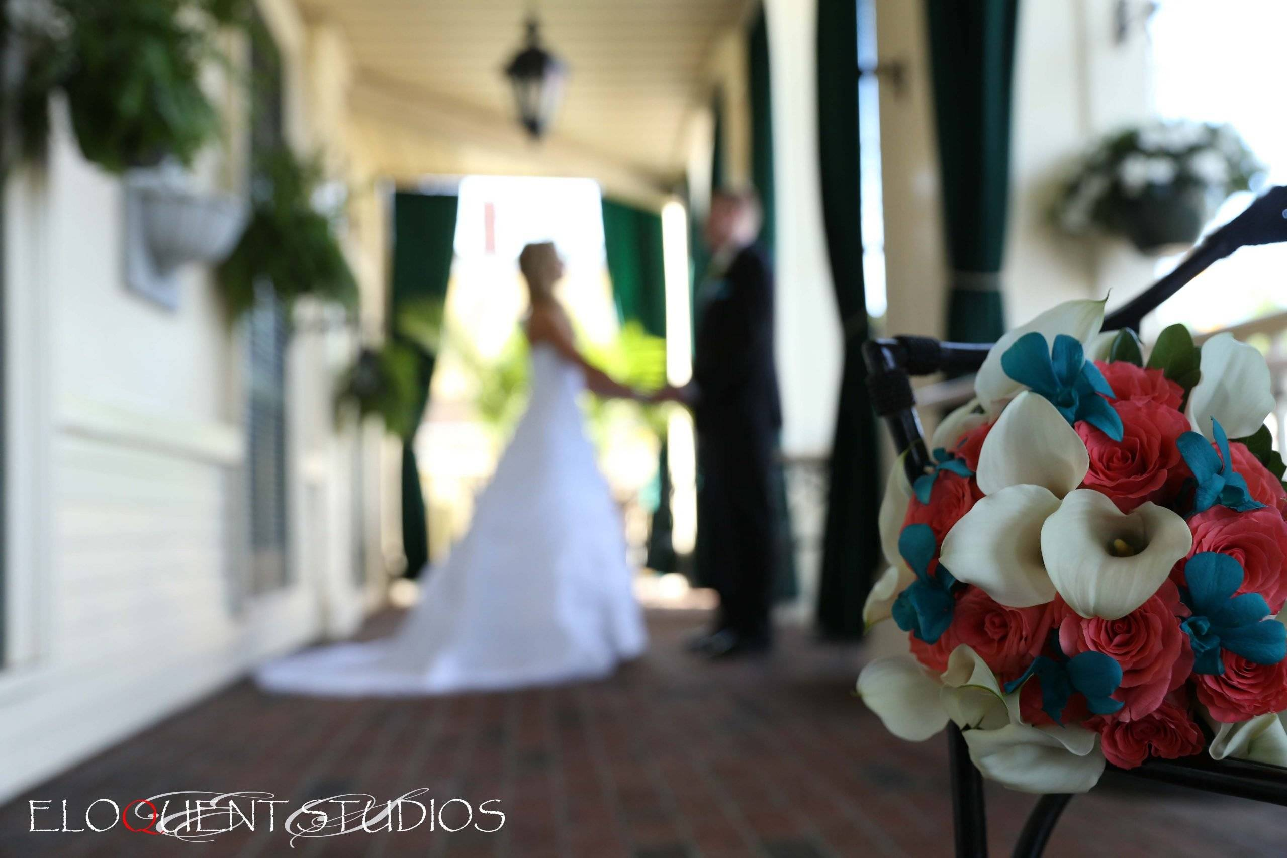 David's Country Inn wedding couple on the front porch