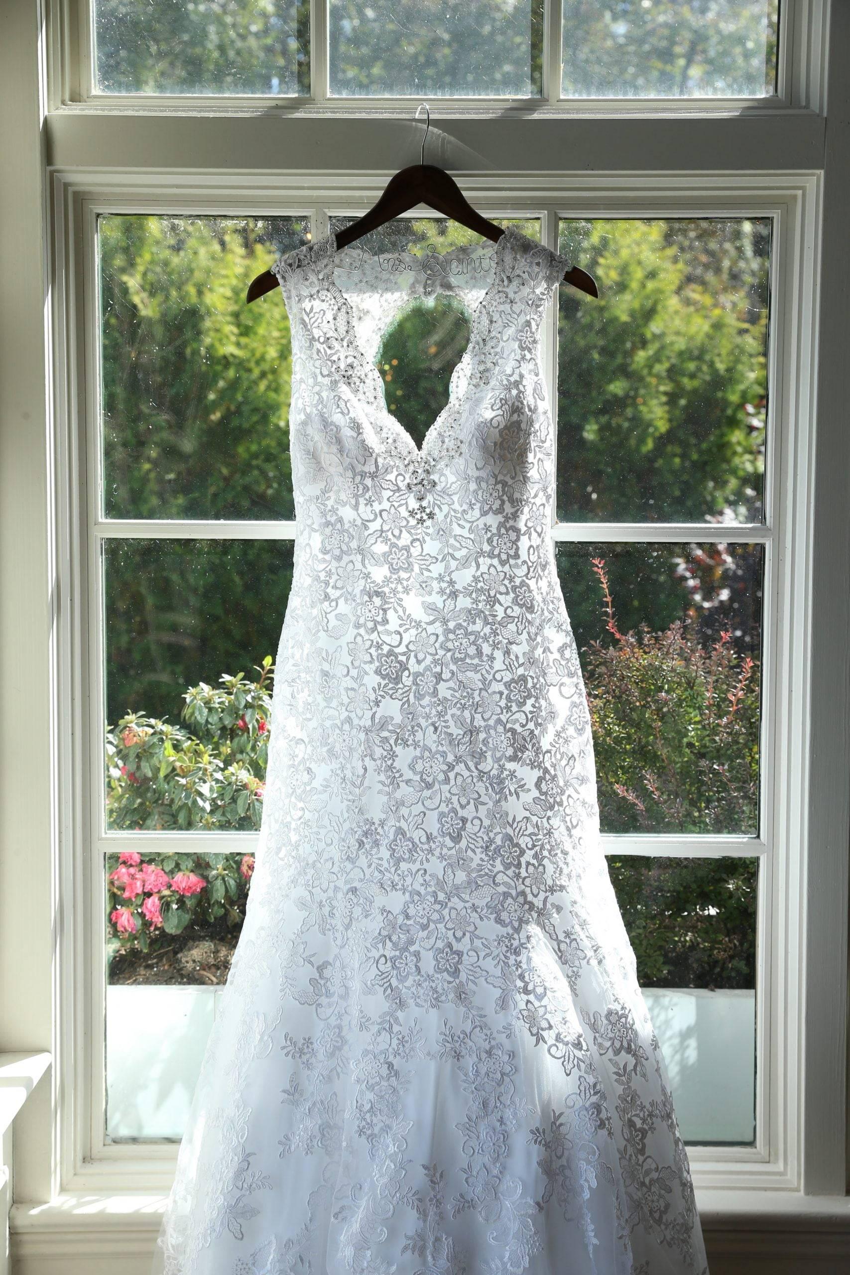 Park Savoy wedding gown hanging up