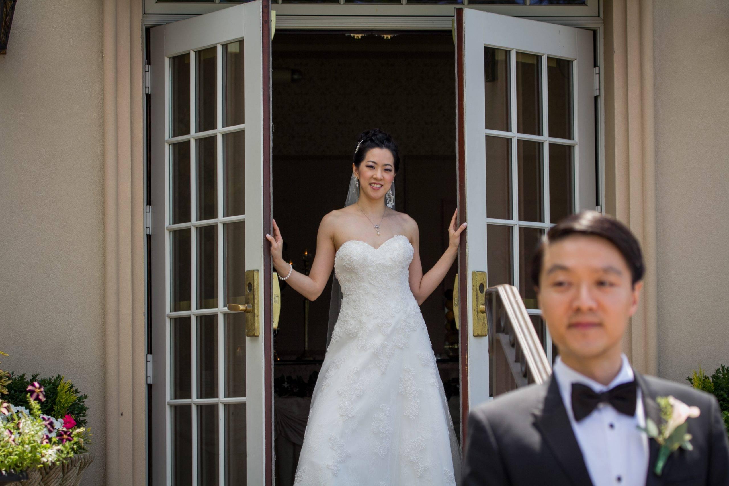 Brooklake bride approaching groom