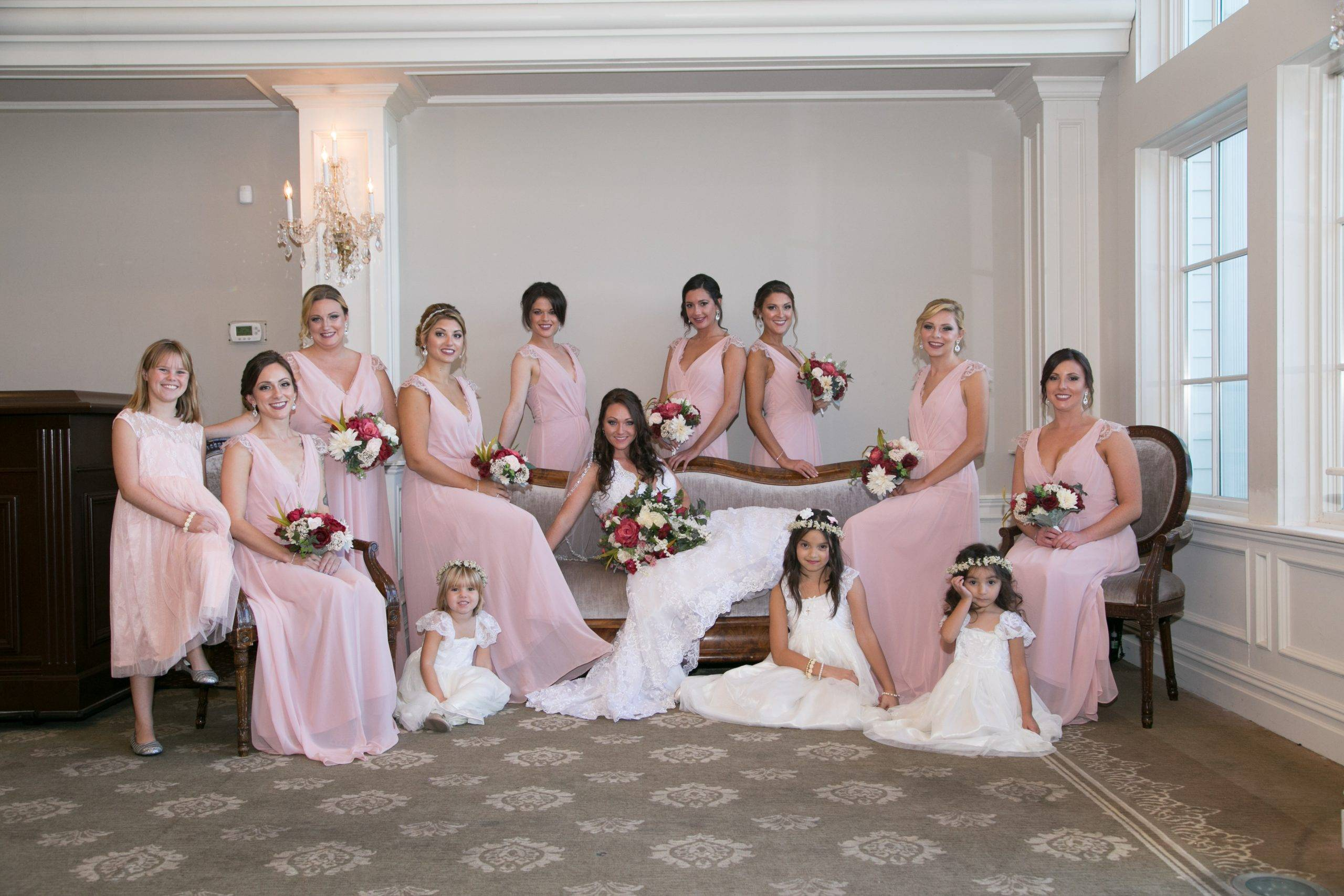 Park Savoy bride, bridesmaids, and flower girls ready for the wedding