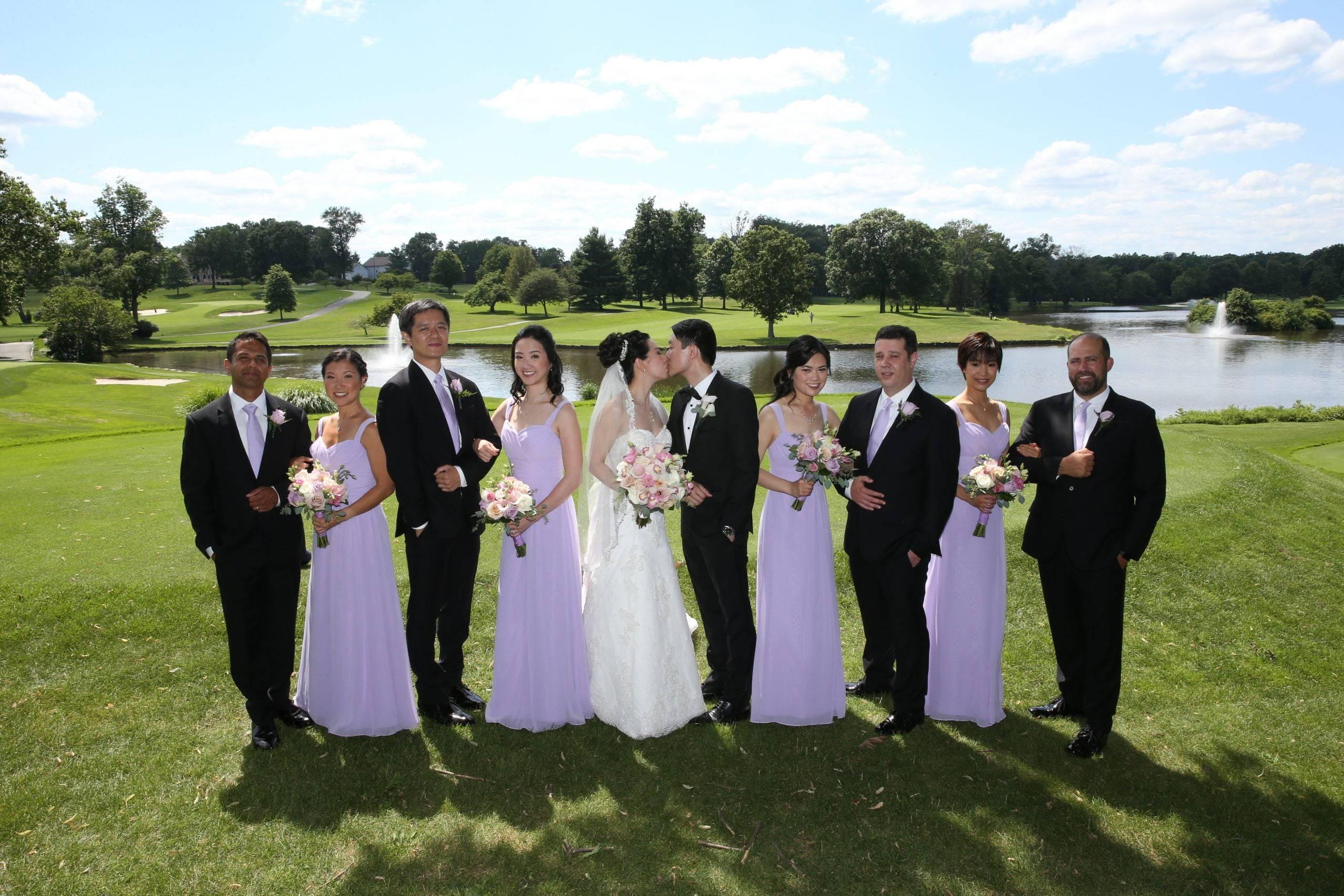 Brooklake bridal party by the lake