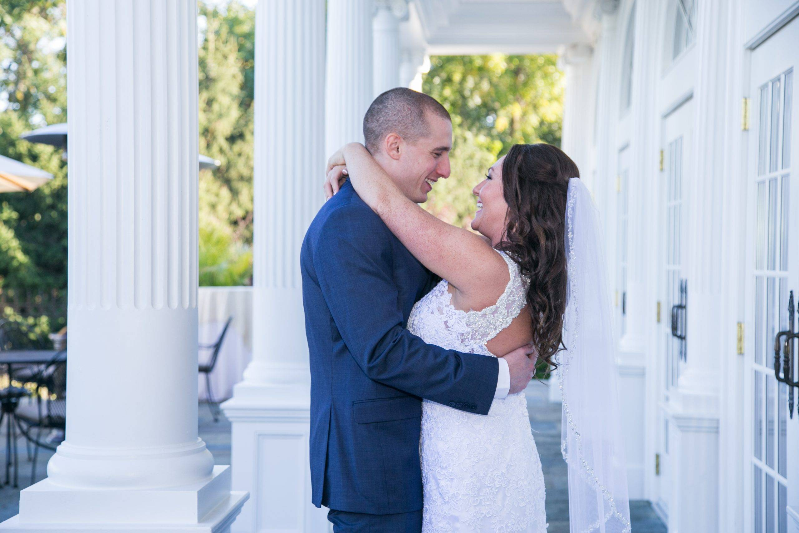 Park Savoy bride and groom embracing