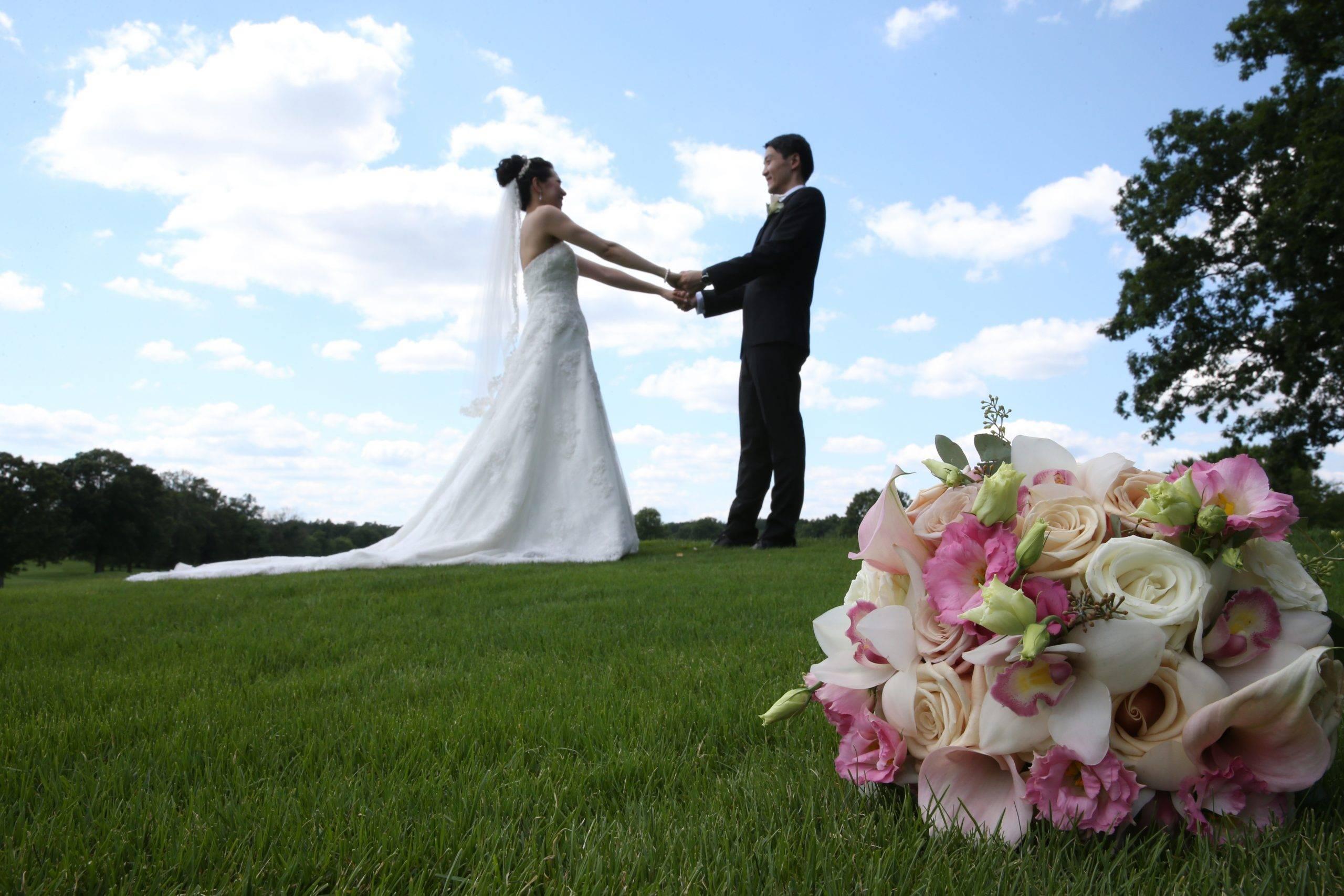 Brooklake wedding couple on the hill