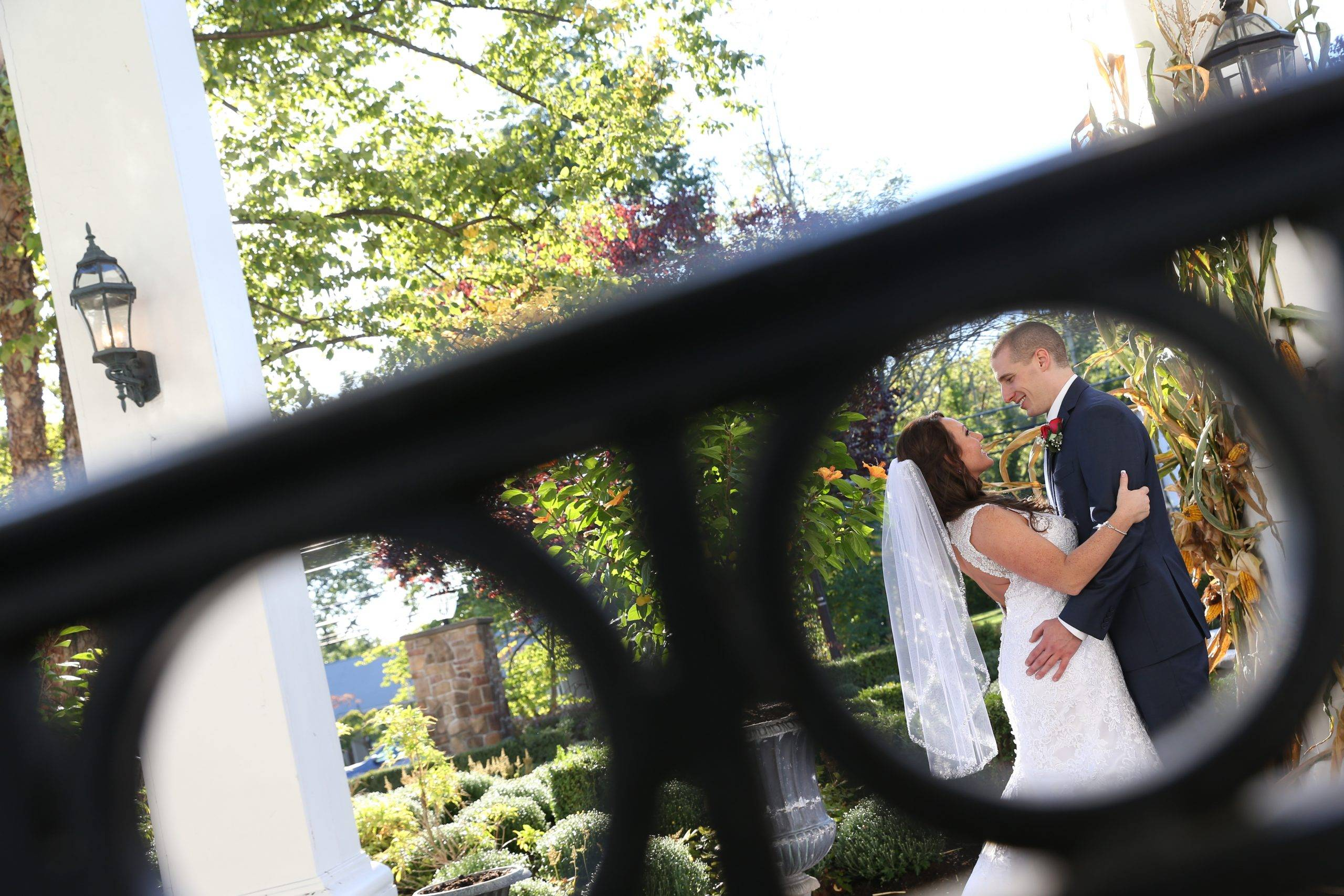 Park Savoy bride and groom on patio outside