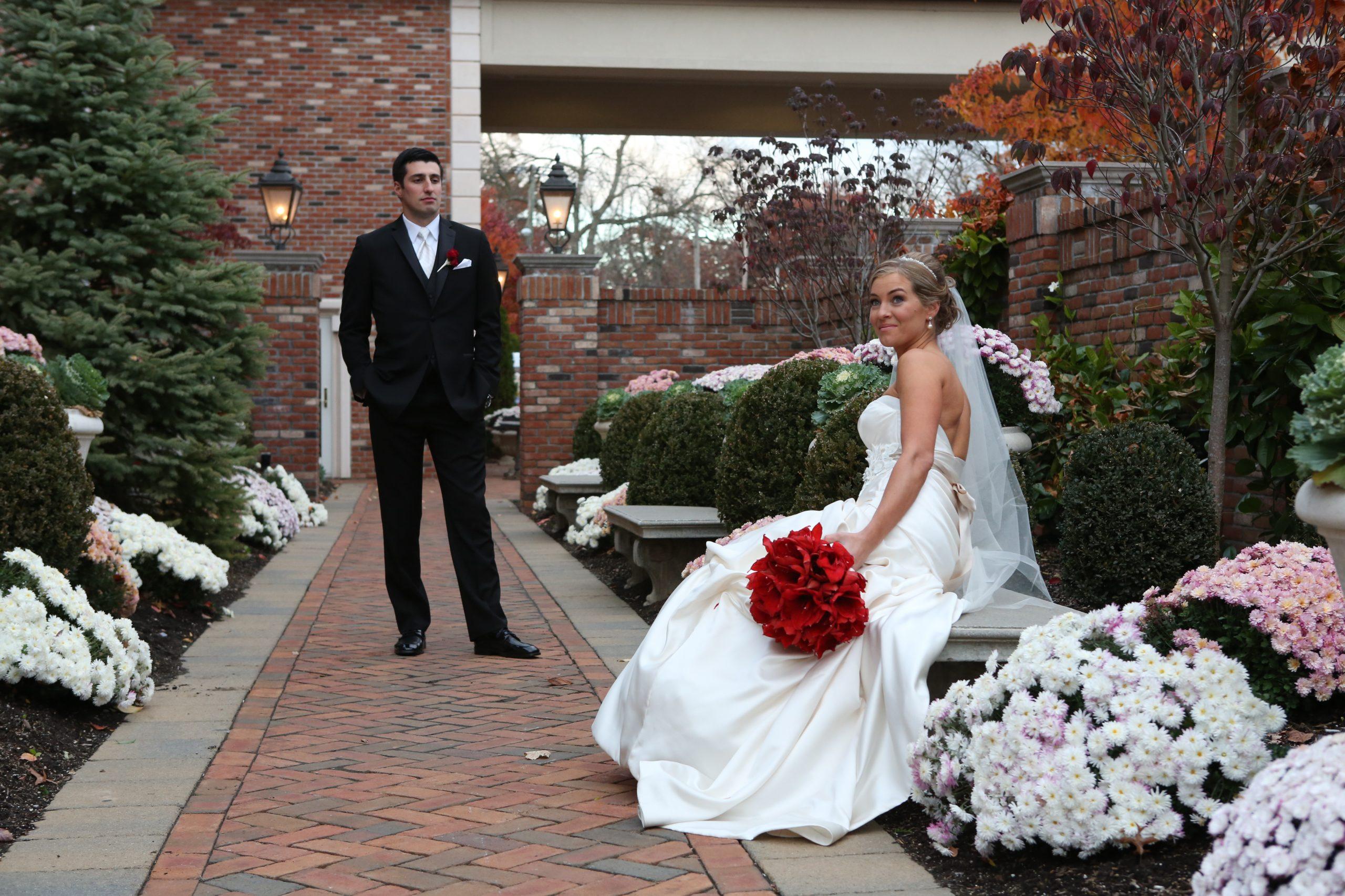 Florentine Gardens wedding couple in gardens