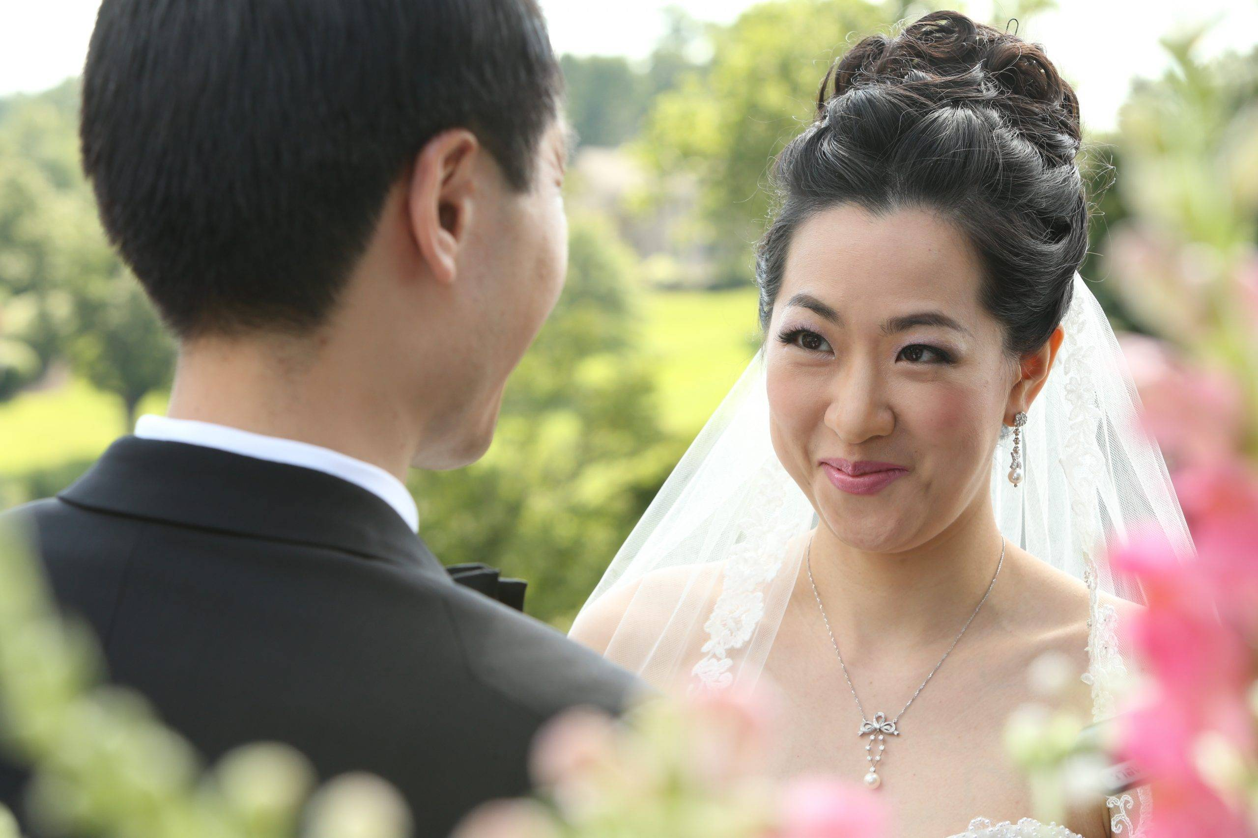 Brooklake bride smiling at the groom