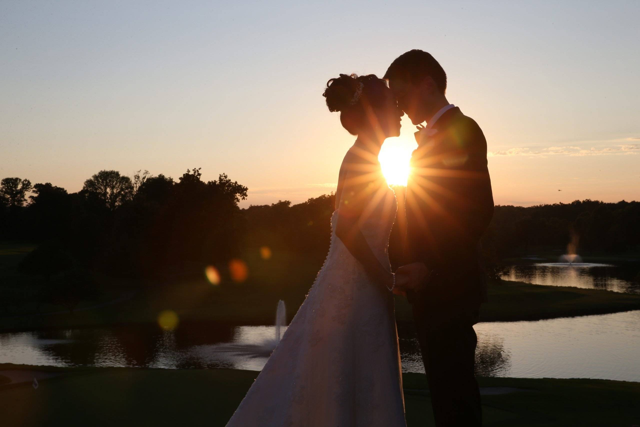 Brooklake bride and groom with sunset