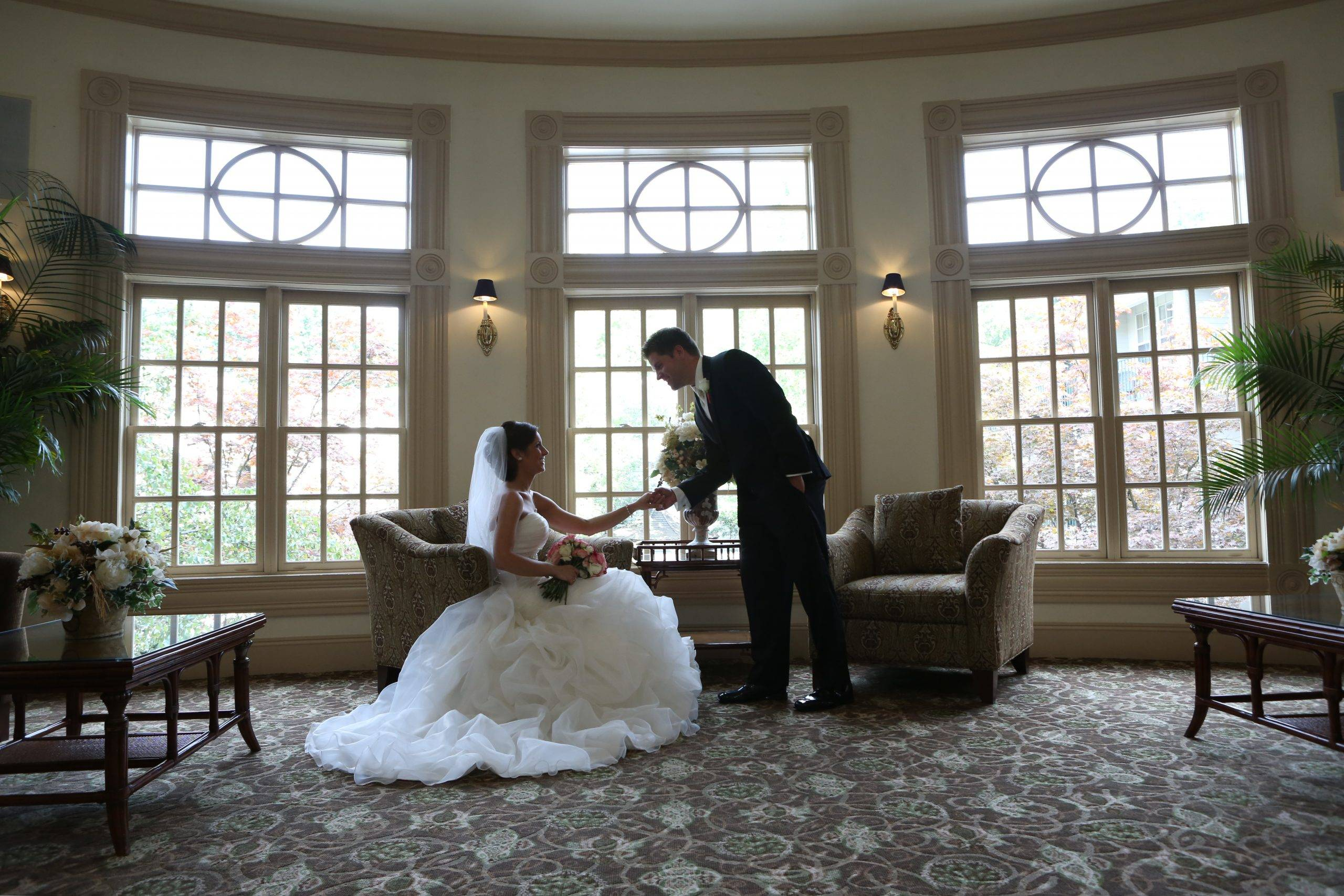 Olde Mill Inn bride and groom in salon