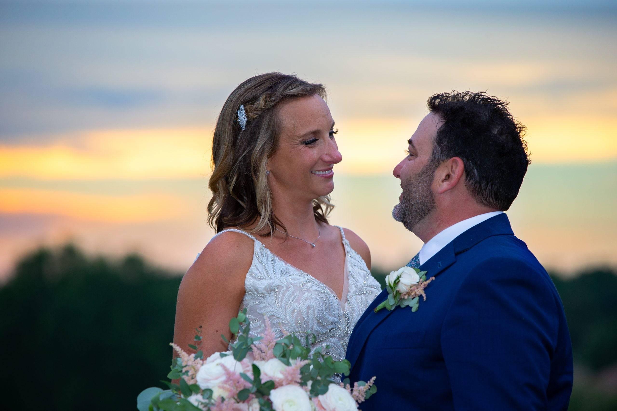Brooklake bride and groom outside