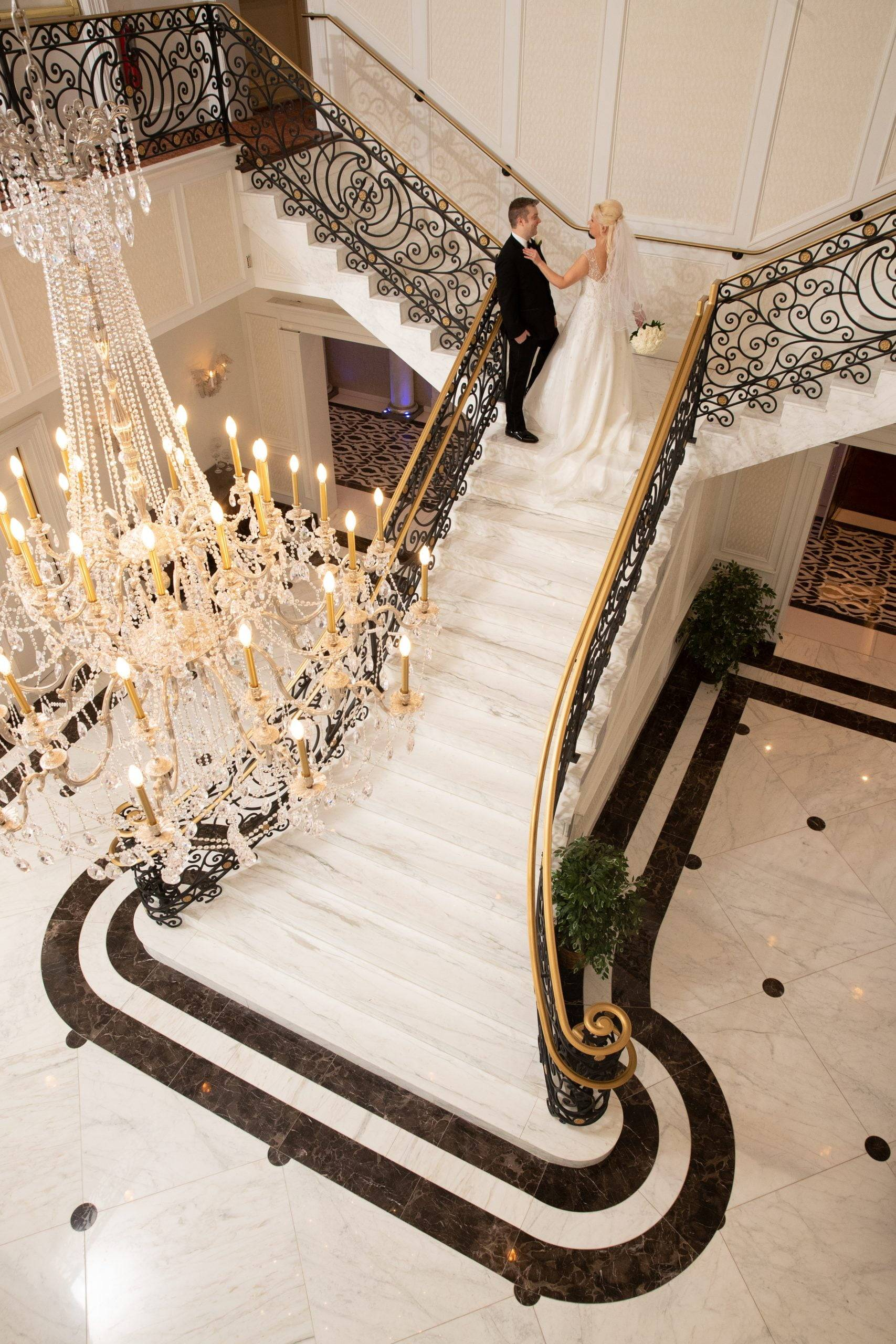 Meadow Wood bride and groom on staircase