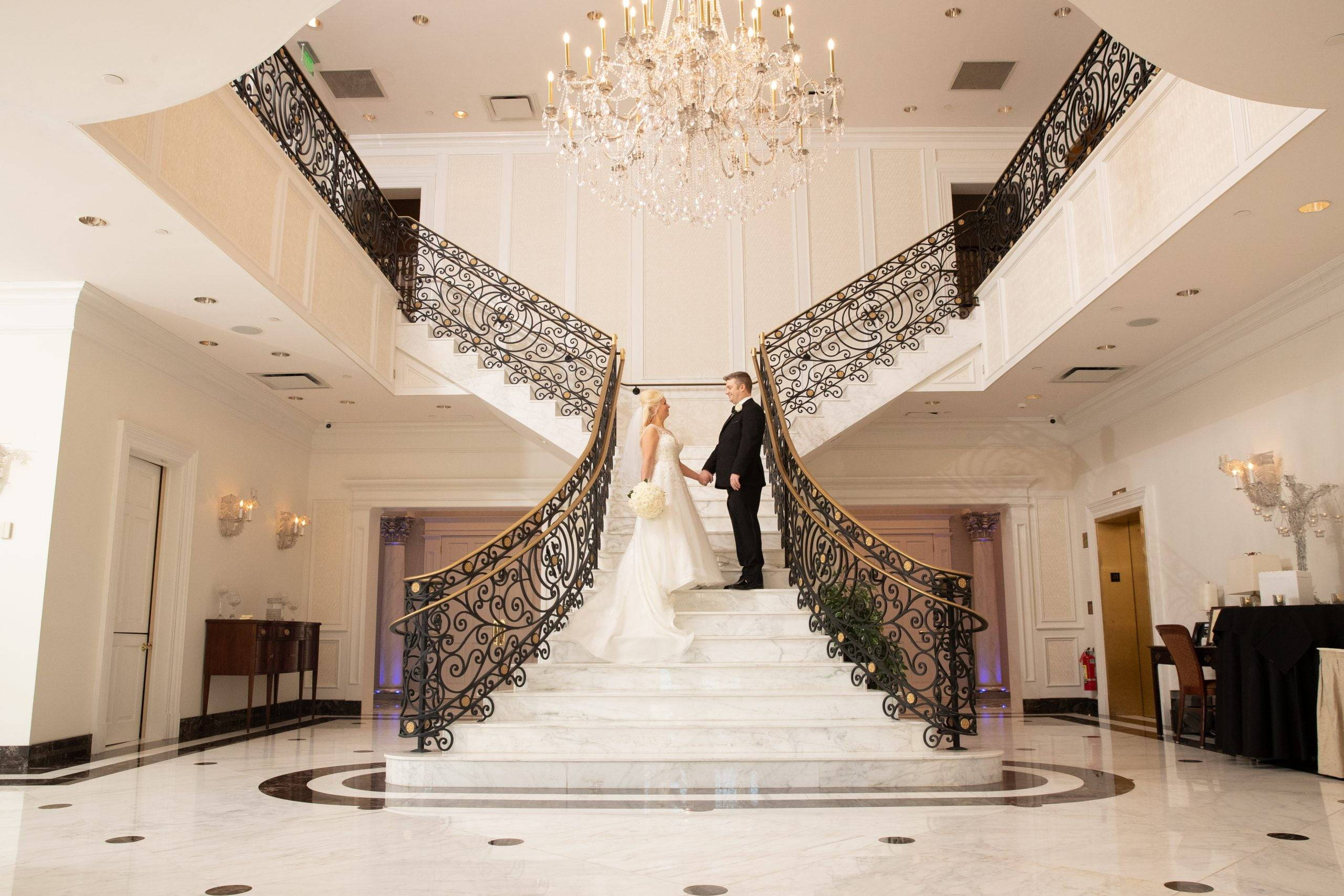 Meadow Wood bride and groom centered on staircase