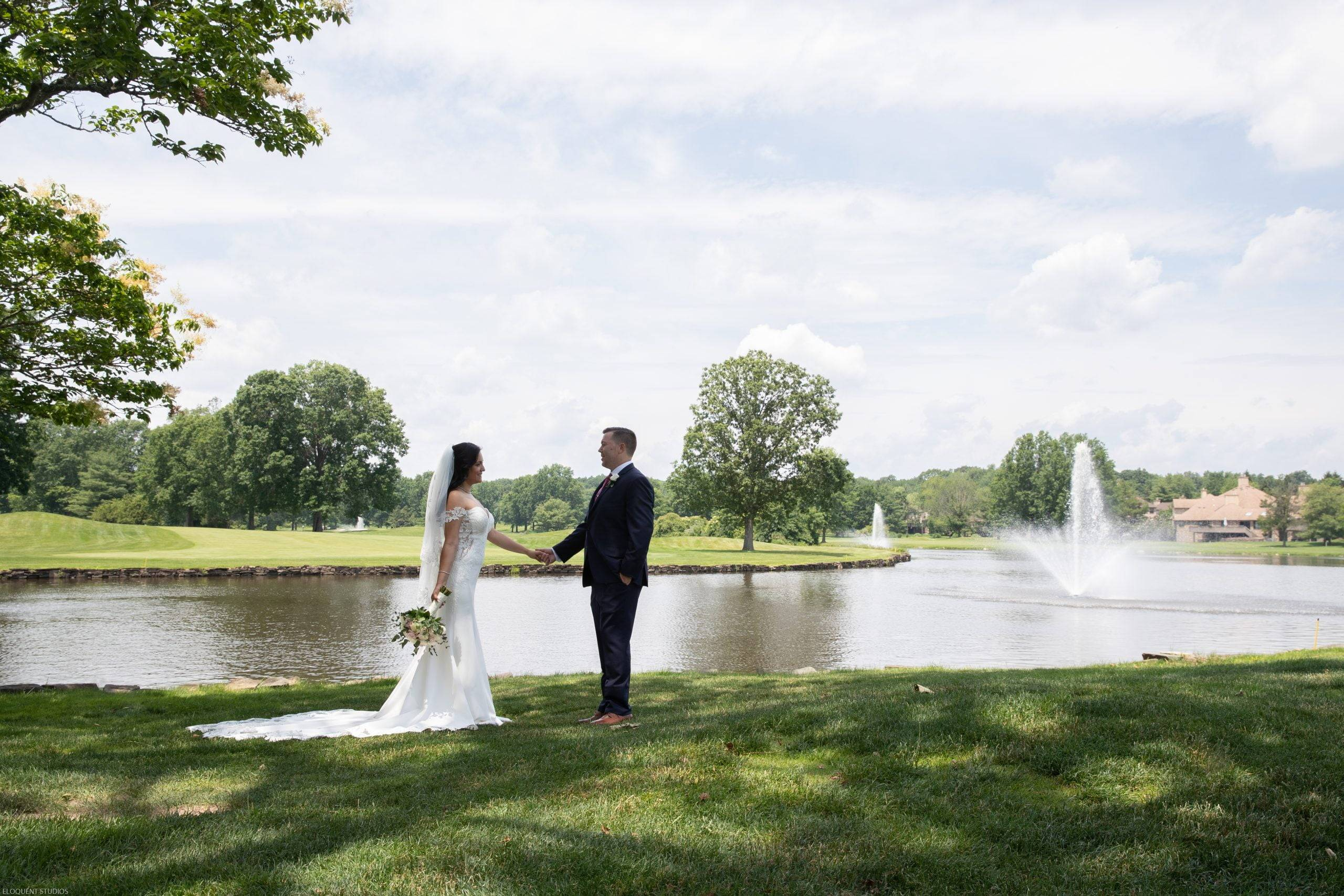 Brooklake bride and groom by the lake