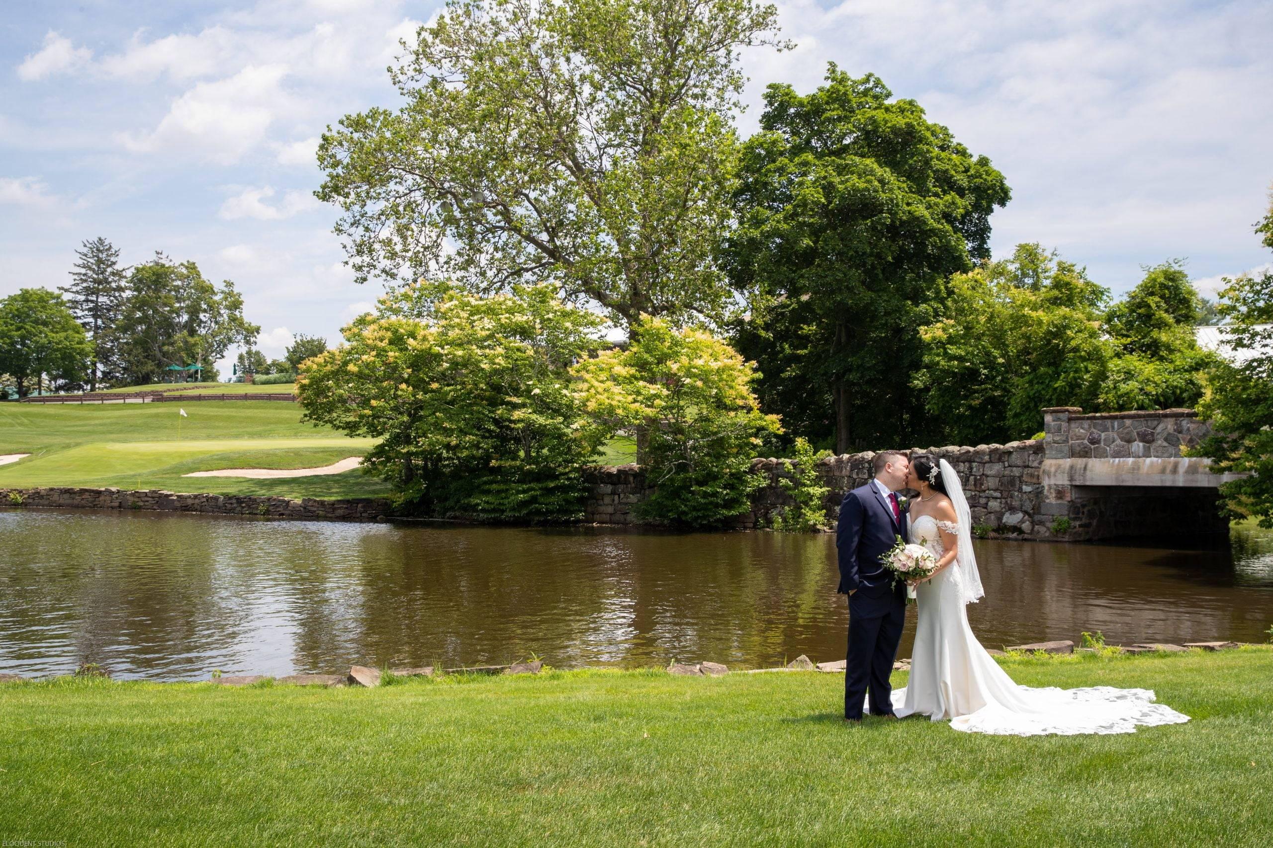 Brooklake wedding couple by the lake