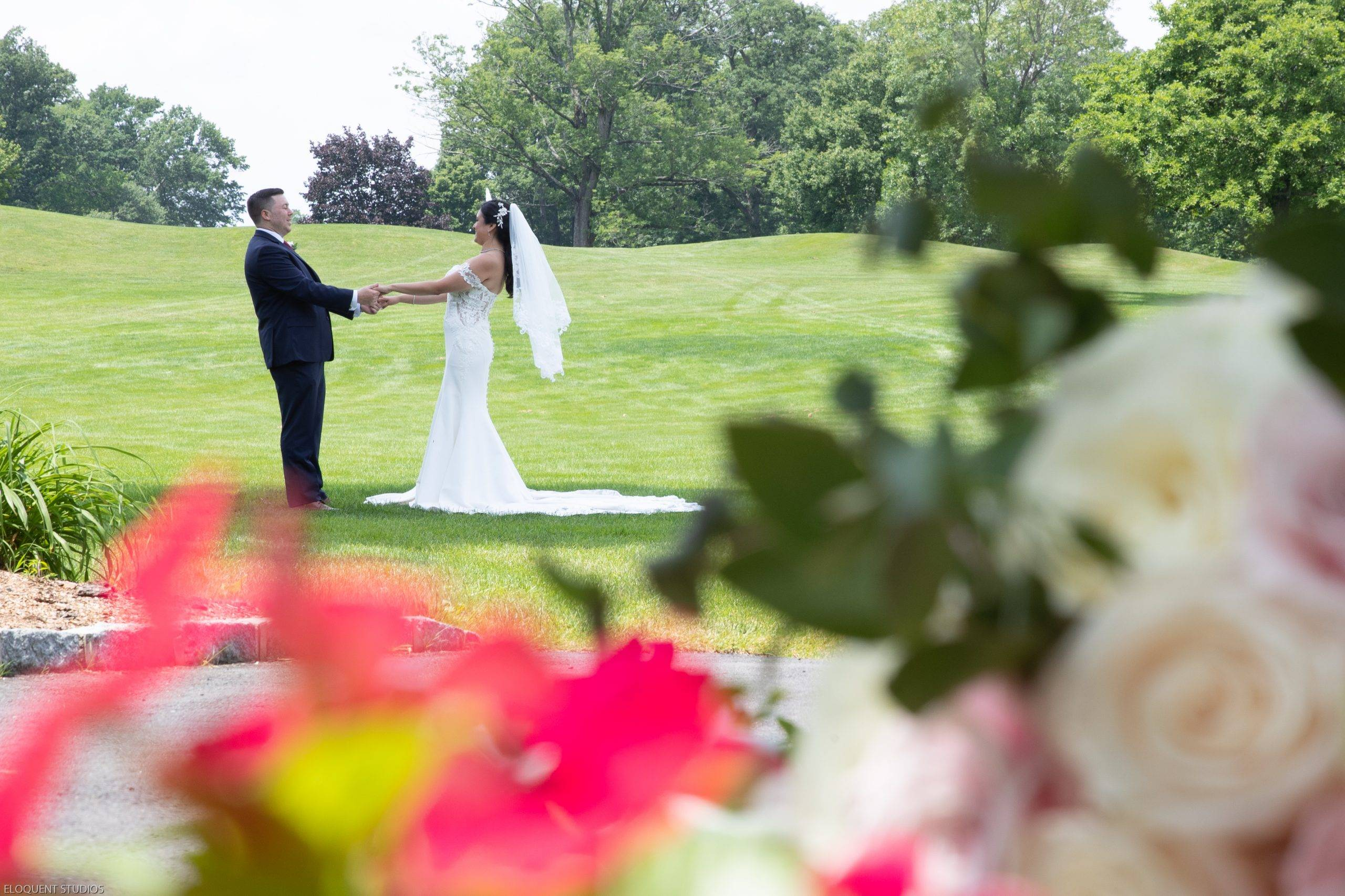 Brooklake bride and groom in the gardens