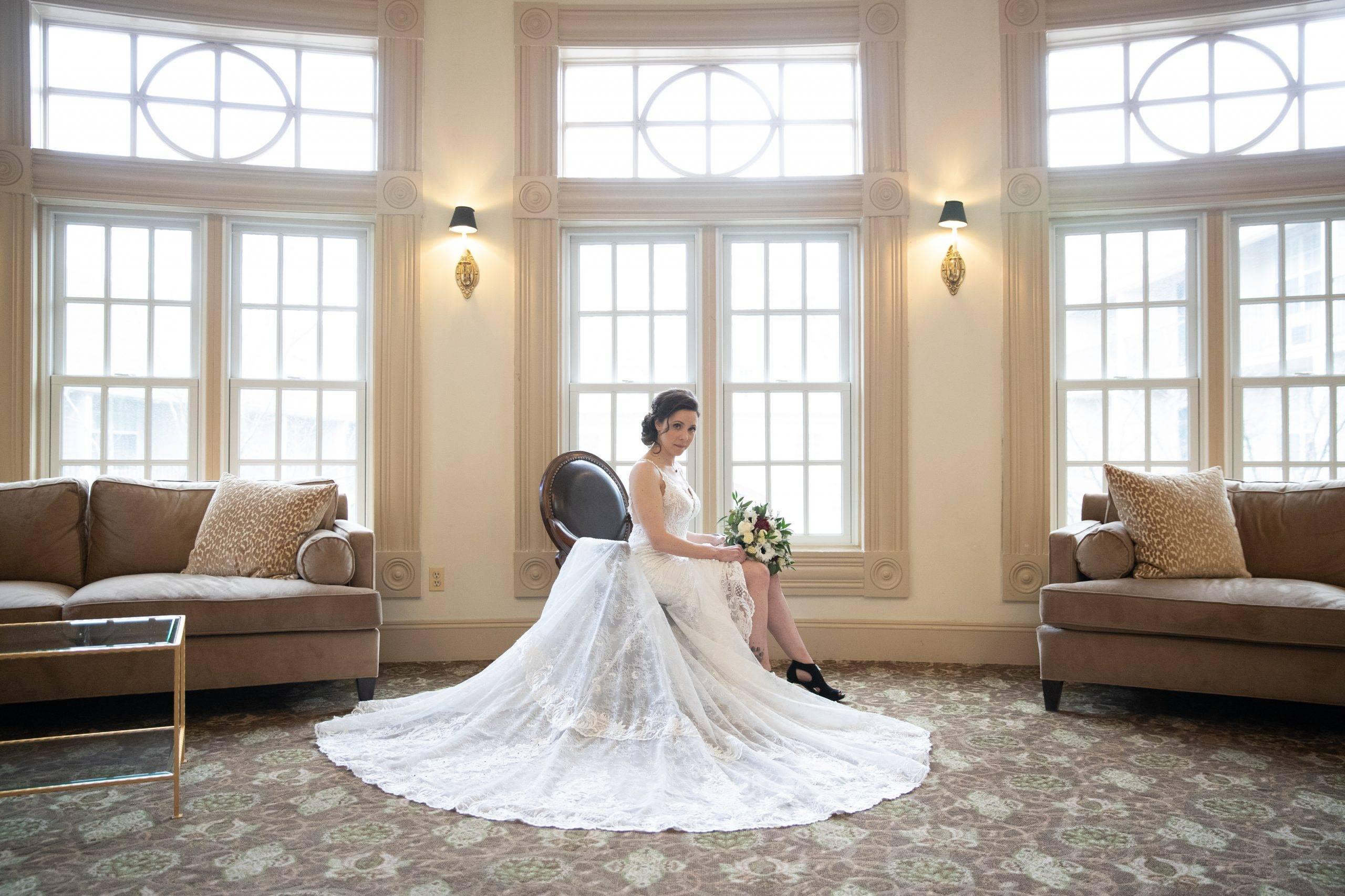 Olde Mill Inn bride relaxing in salon
