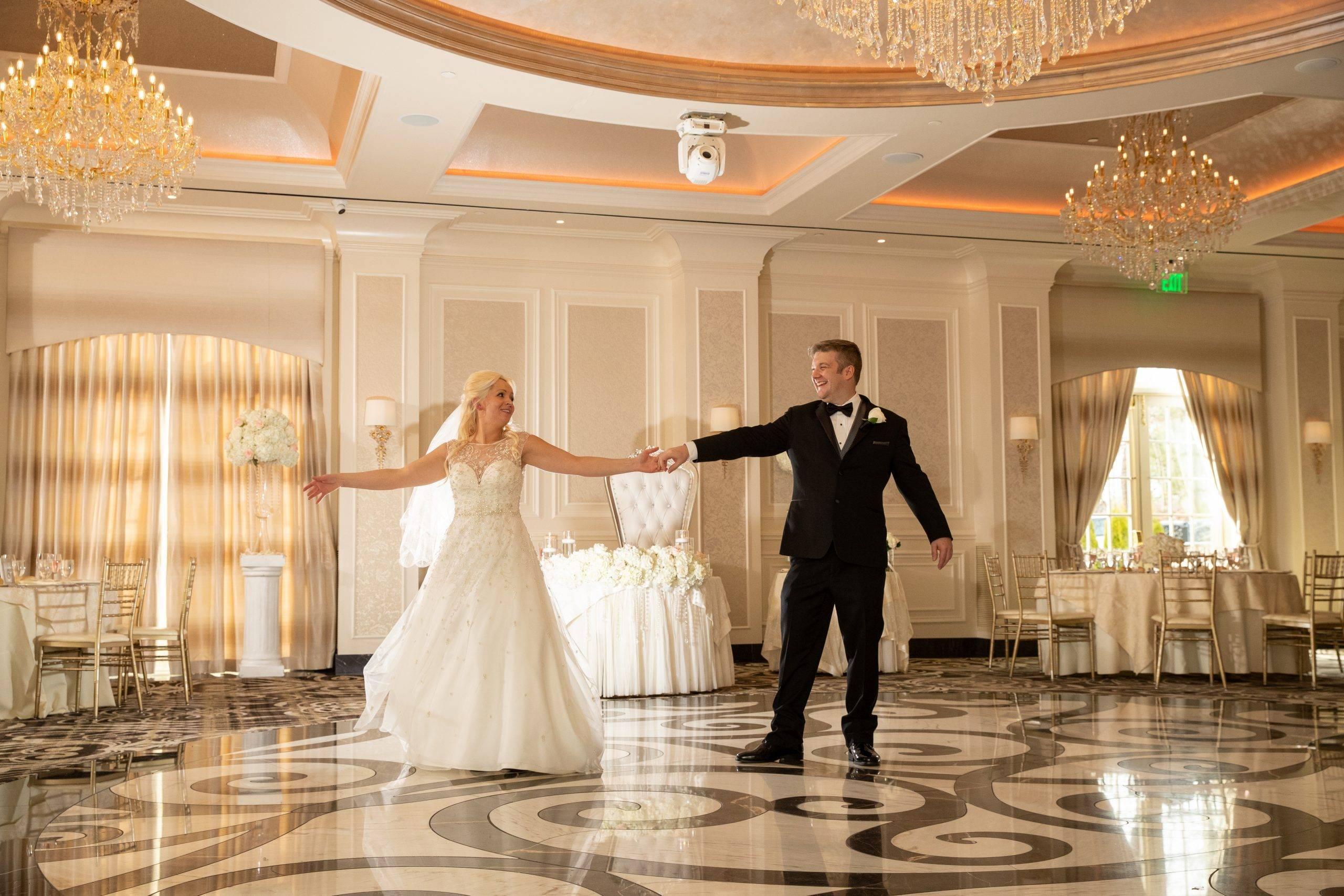 Meadow Wood bride and groom indoors