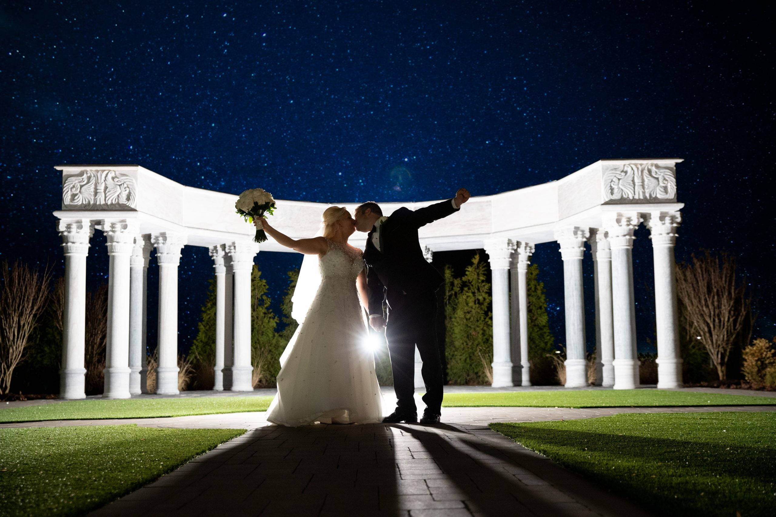 Meadow Wood bride and groom at night