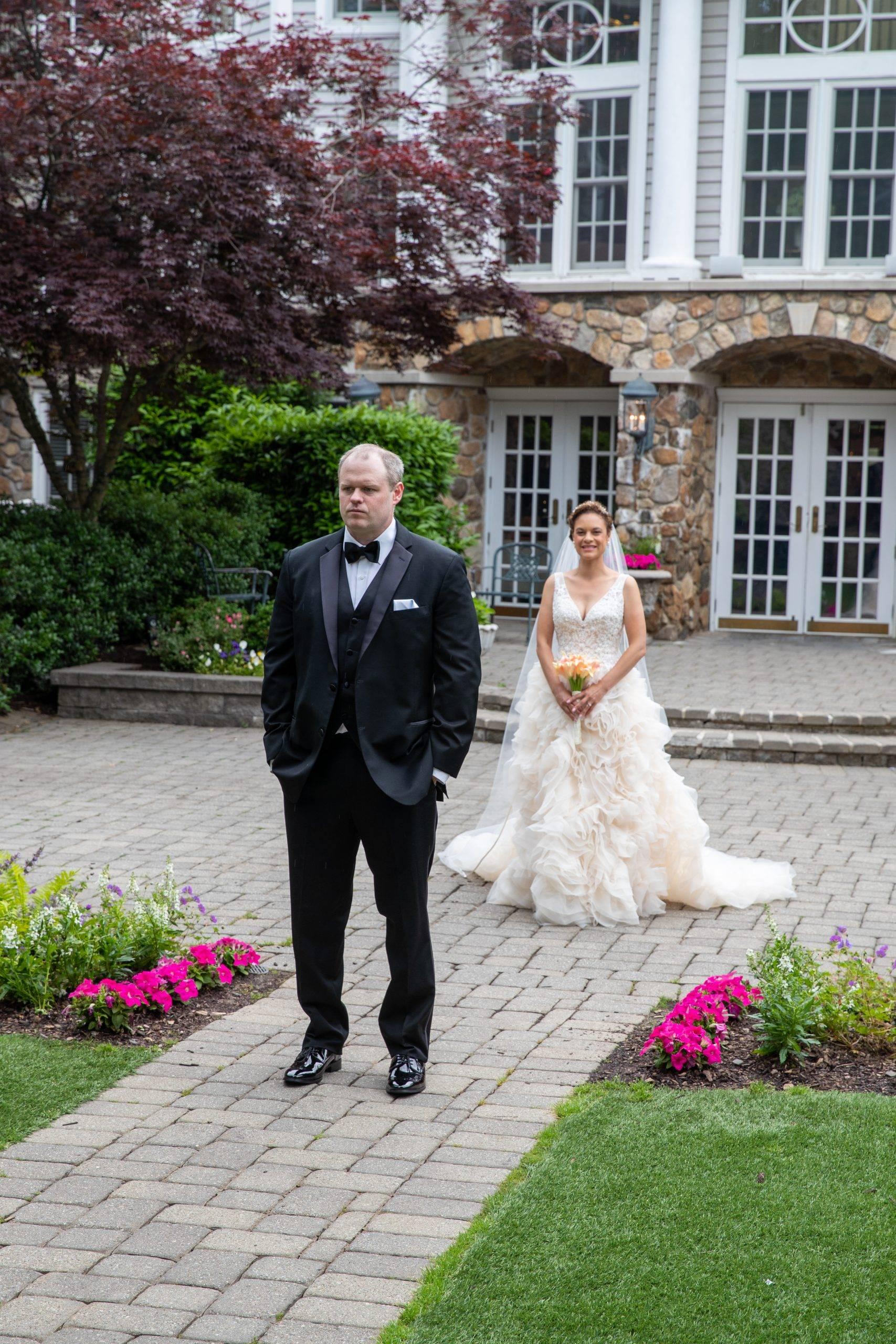 Olde Mill Inn bride approaching groom