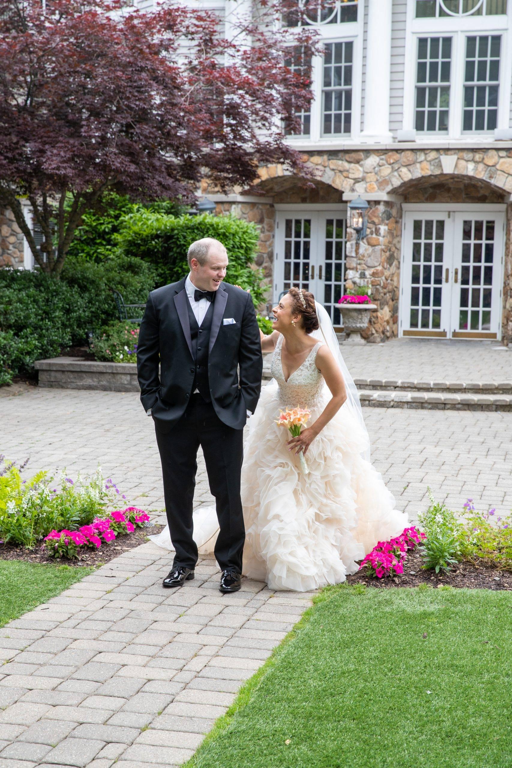 Olde Mill Inn bride sneaking up on groom