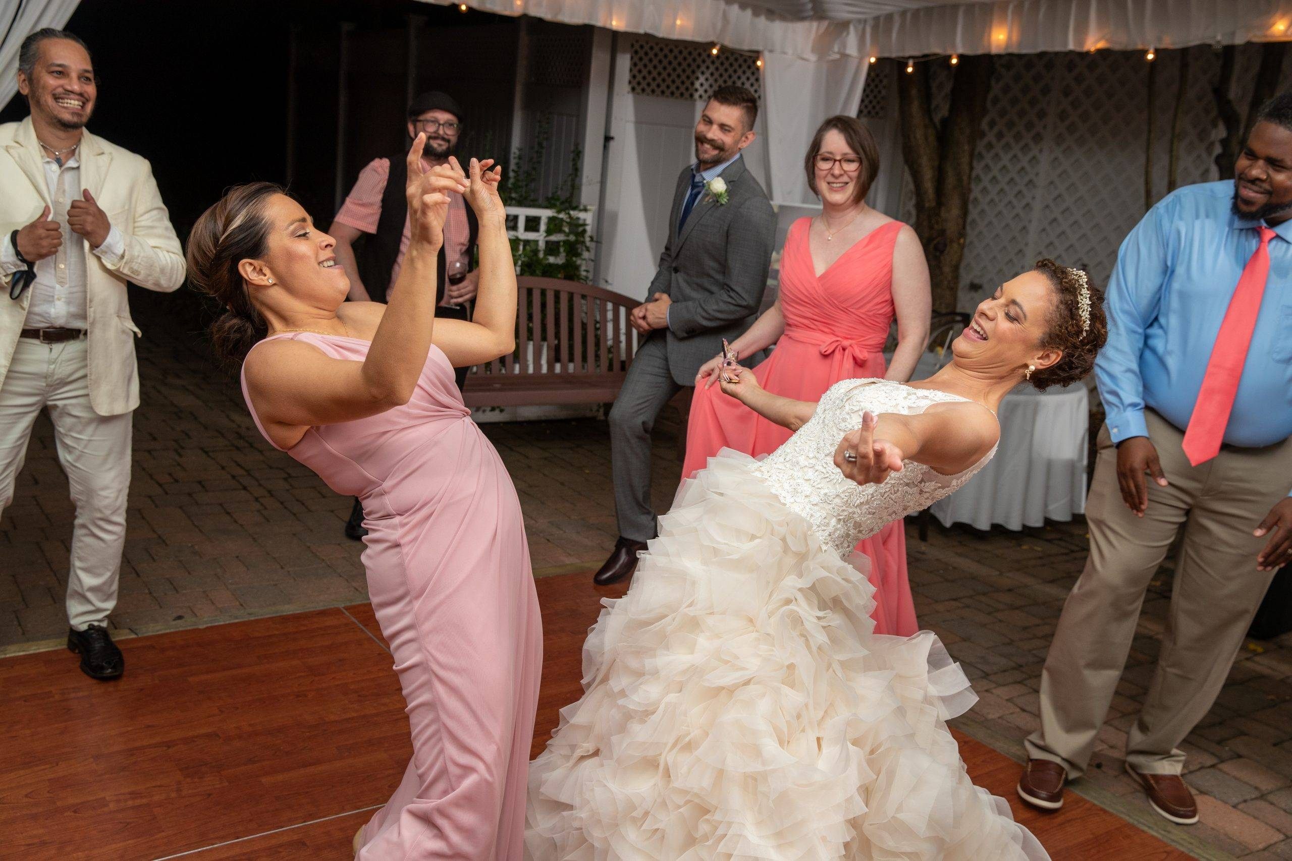 Olde Mill Inn bride dancing with bridesmaid