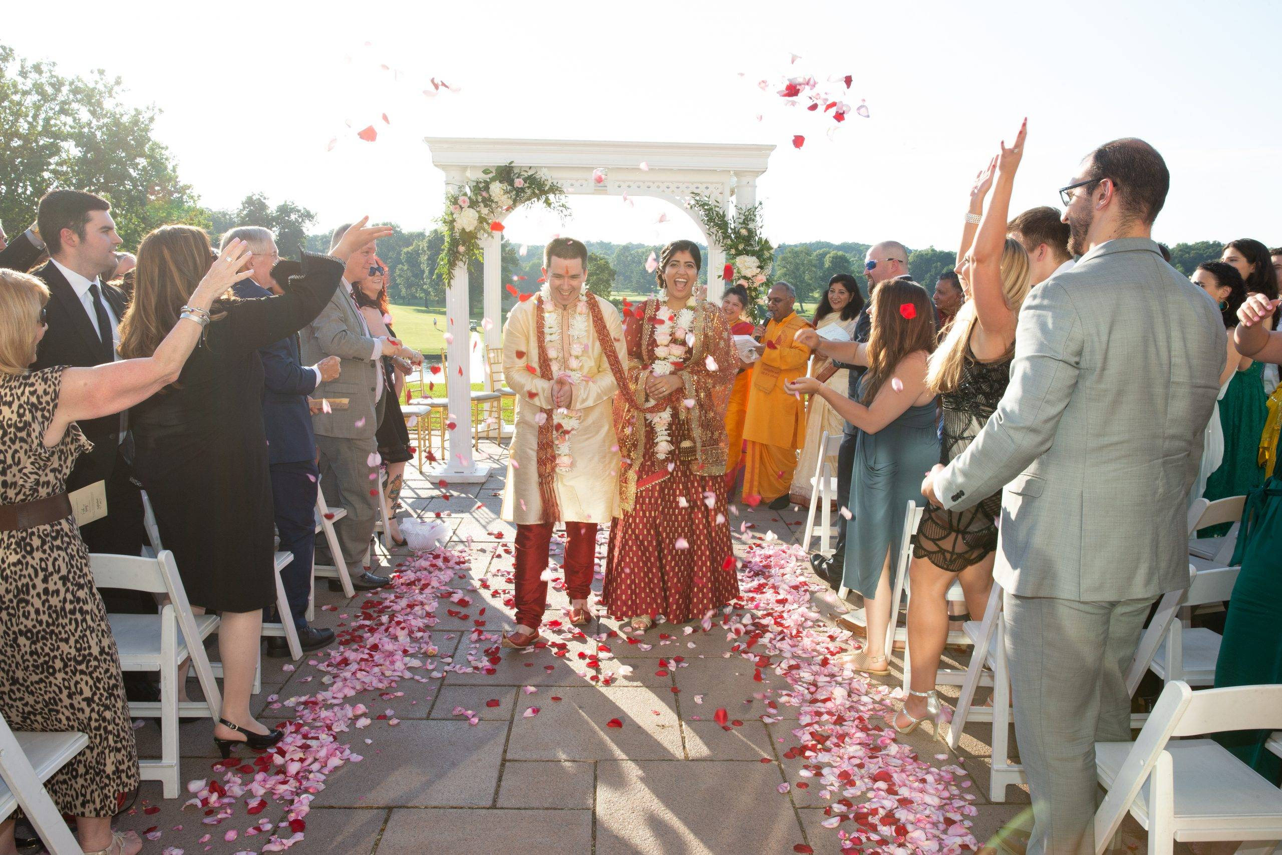 Brooklake Indian wedding couple walking down the aisle