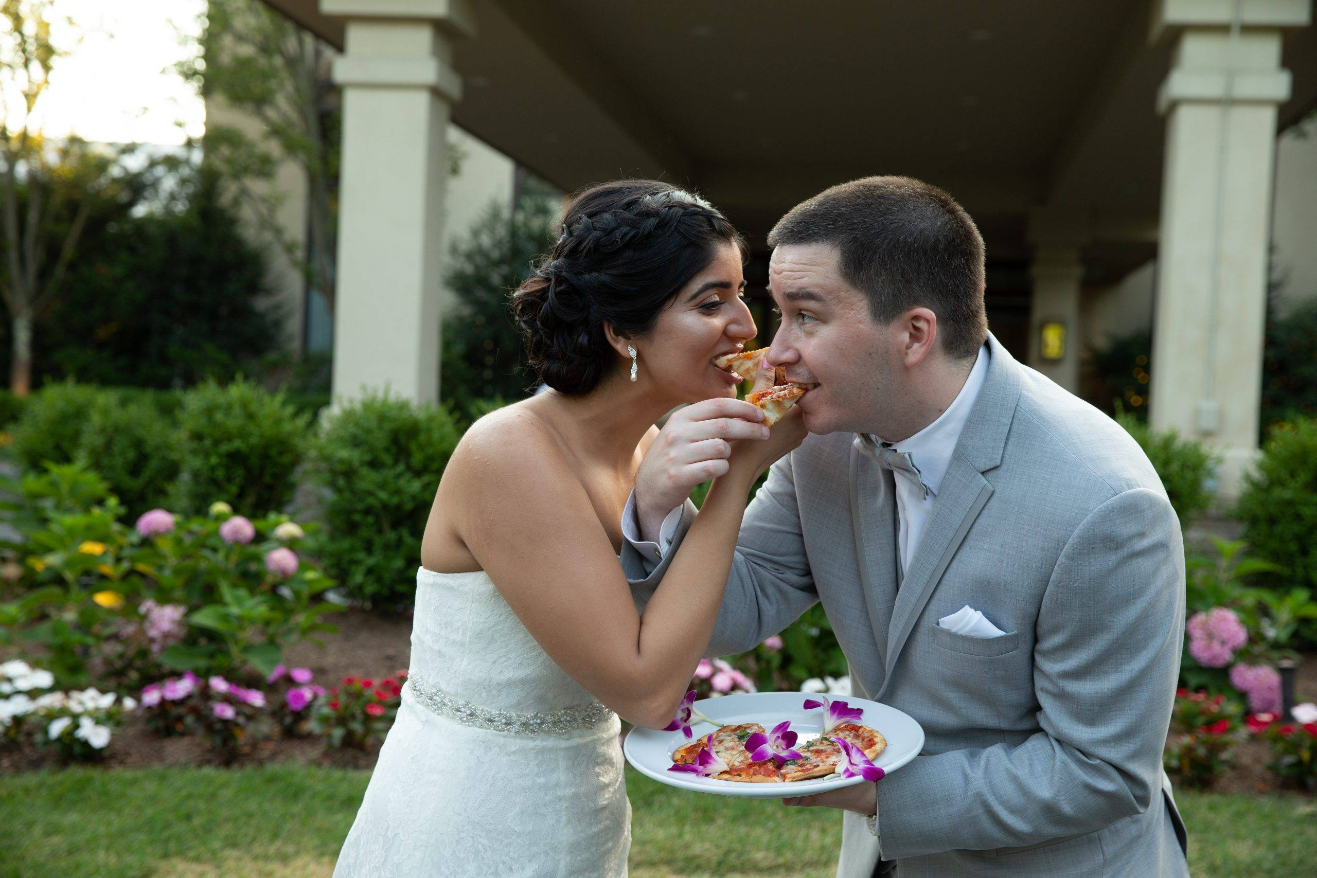 Brooklake wedding couple enjoying dessert