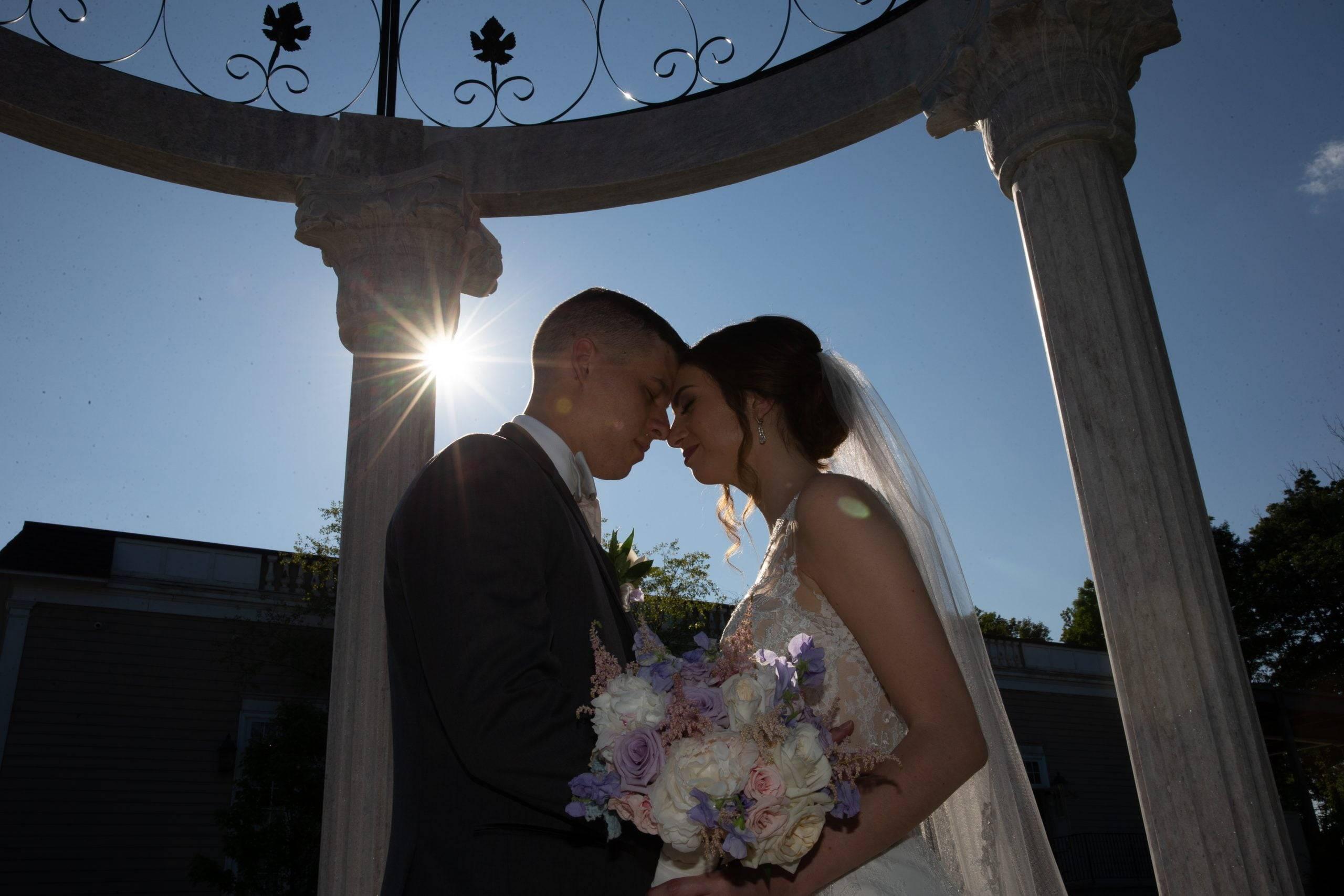 Meadow Wood bride and groom in gazebo