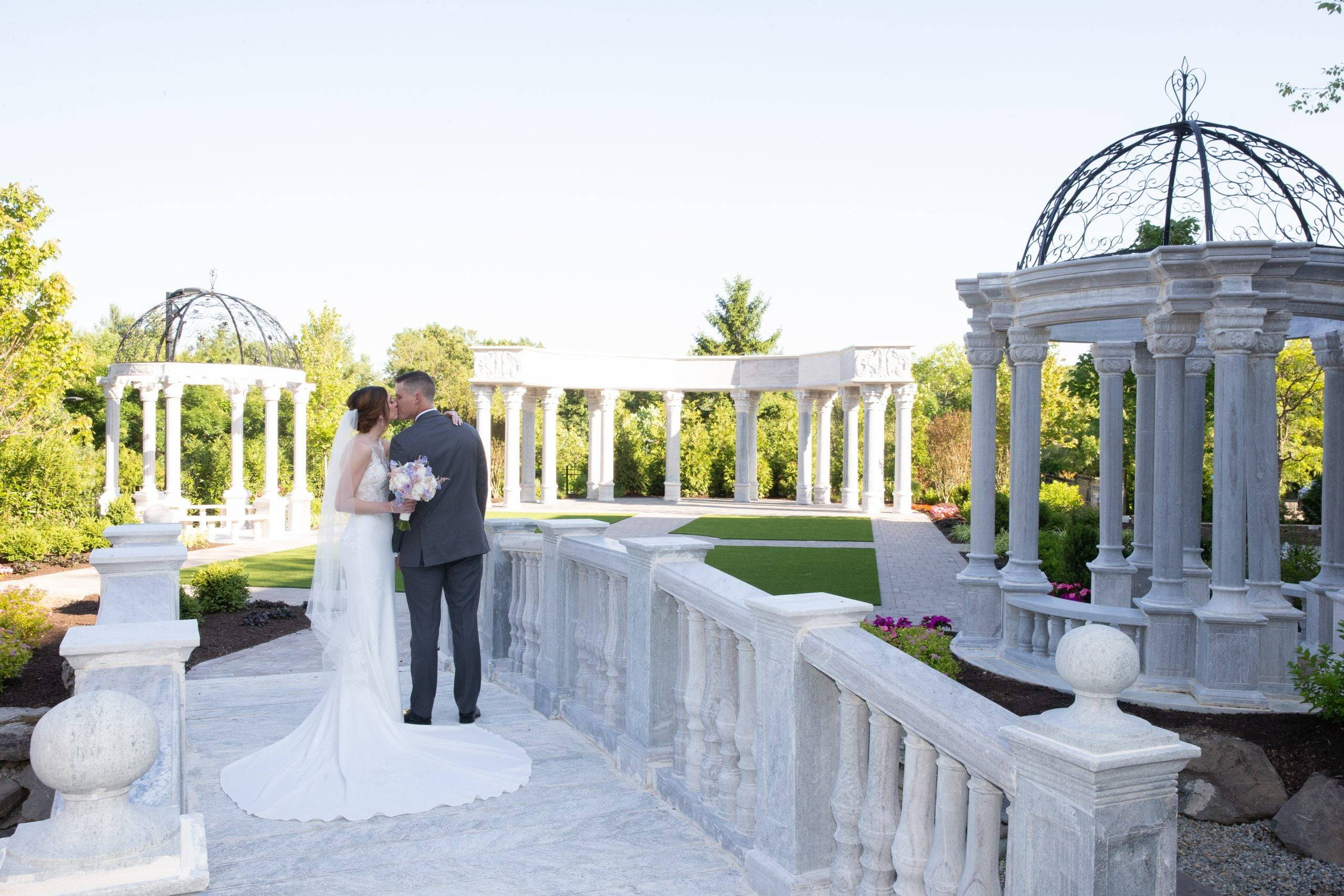 Meadow Wood wedding kiss on the patio