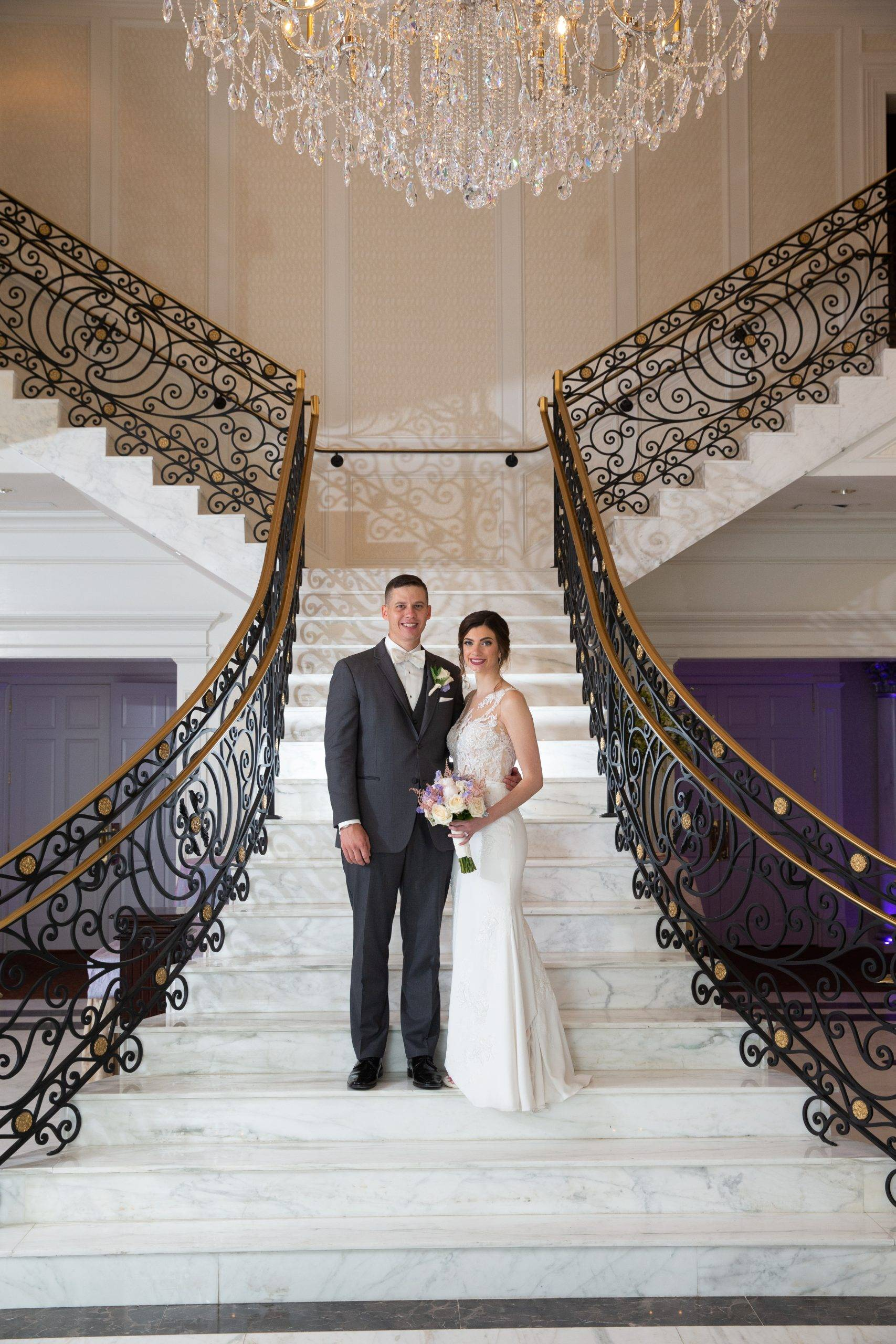Meadow Wood wedding couple by staircase