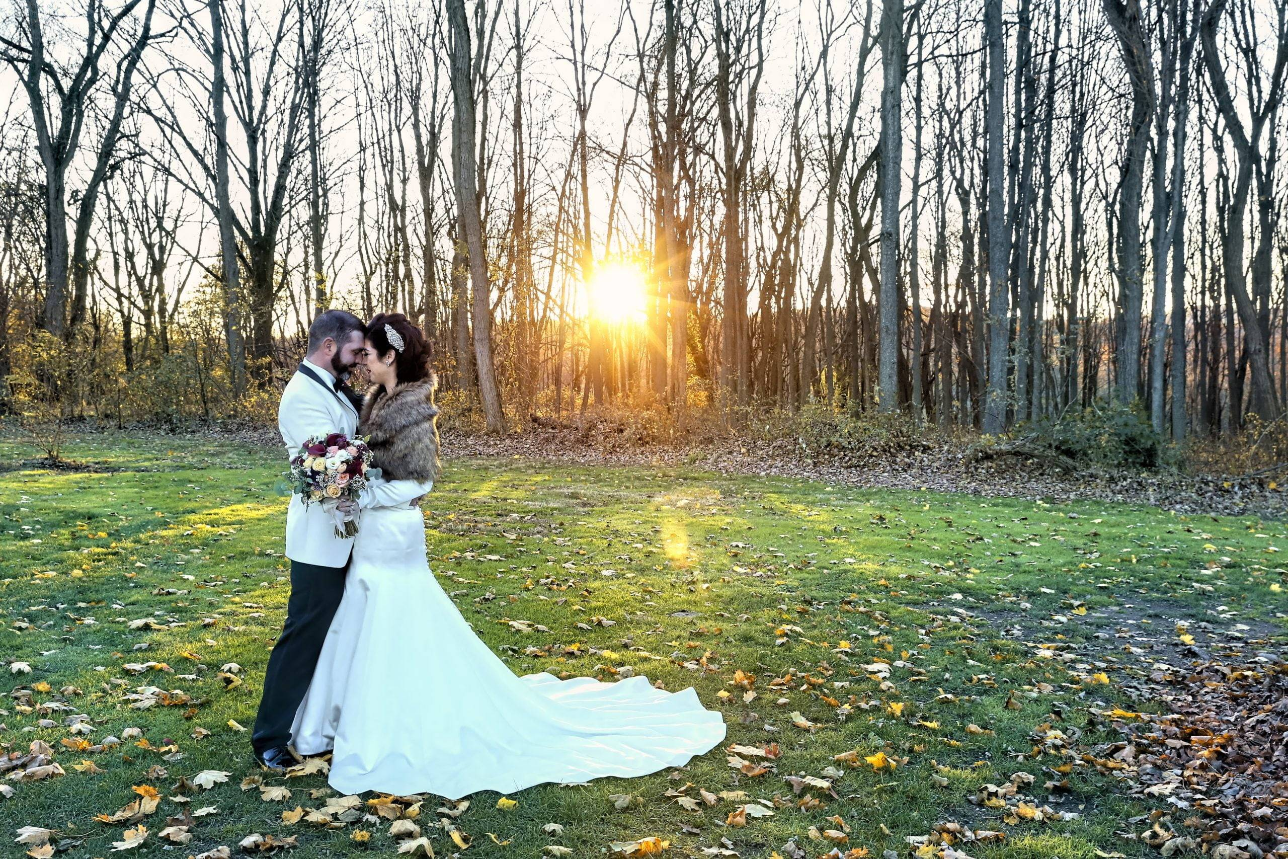 Basking Ridge CC bride and groom on lawn at sunset