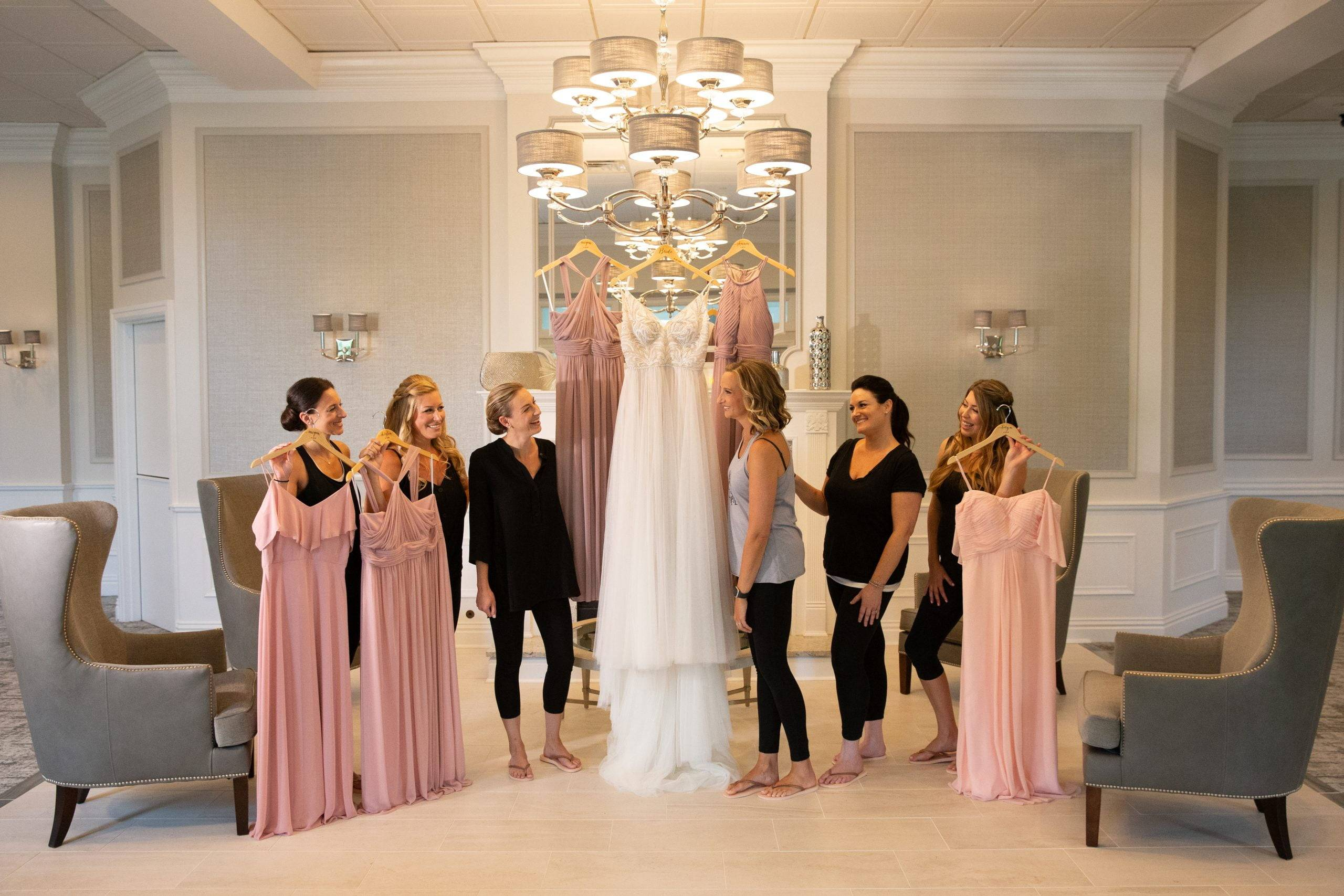 Brooklake bride and bridesmaids with their dresses
