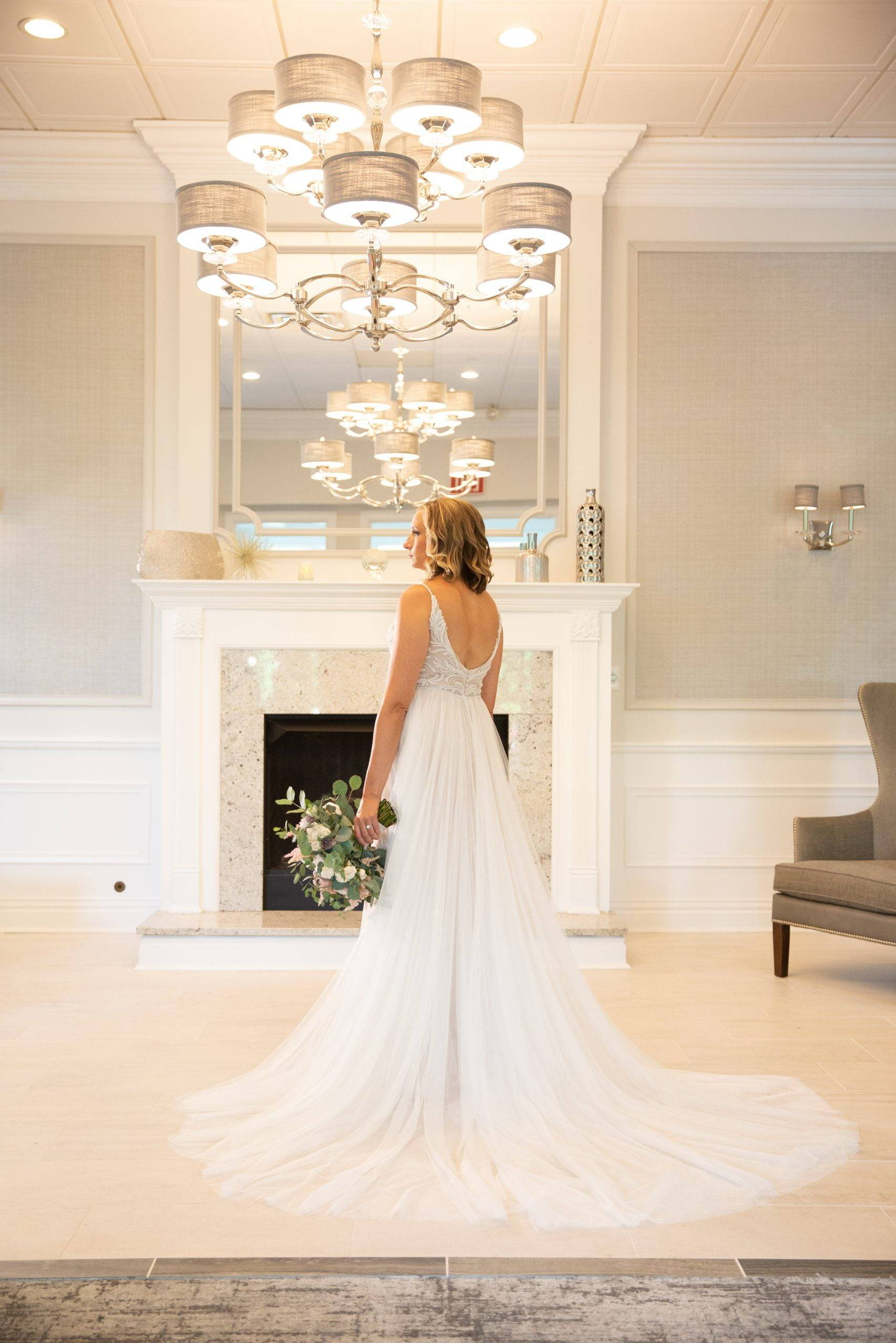 Brooklake bride ready by the fireplace