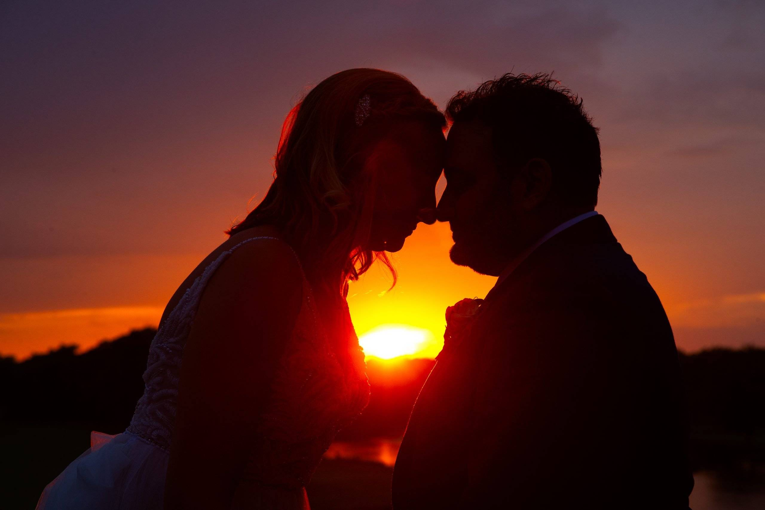 Brooklake bride and groom by sunset