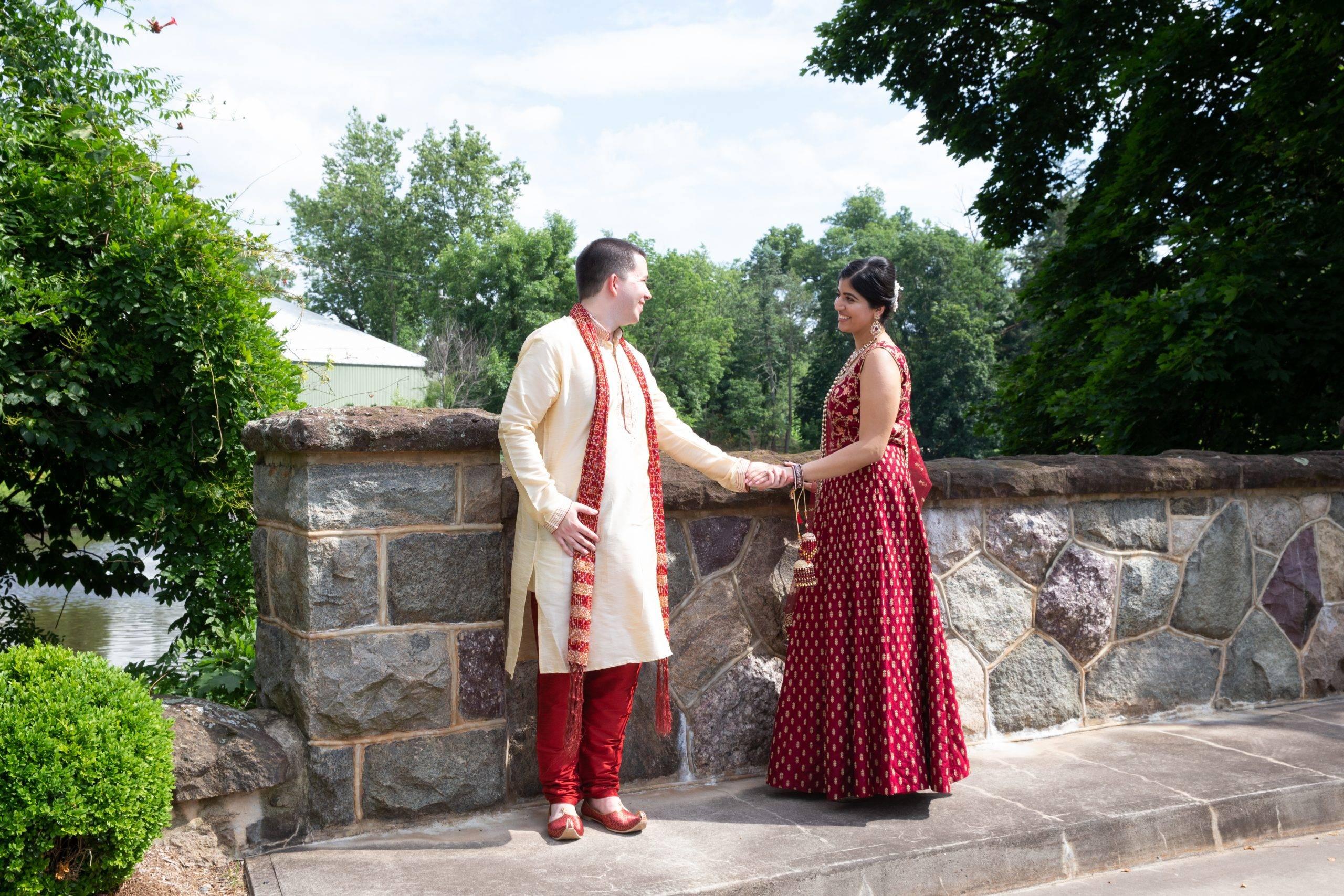 Brooklake Indian bride and groom on patio