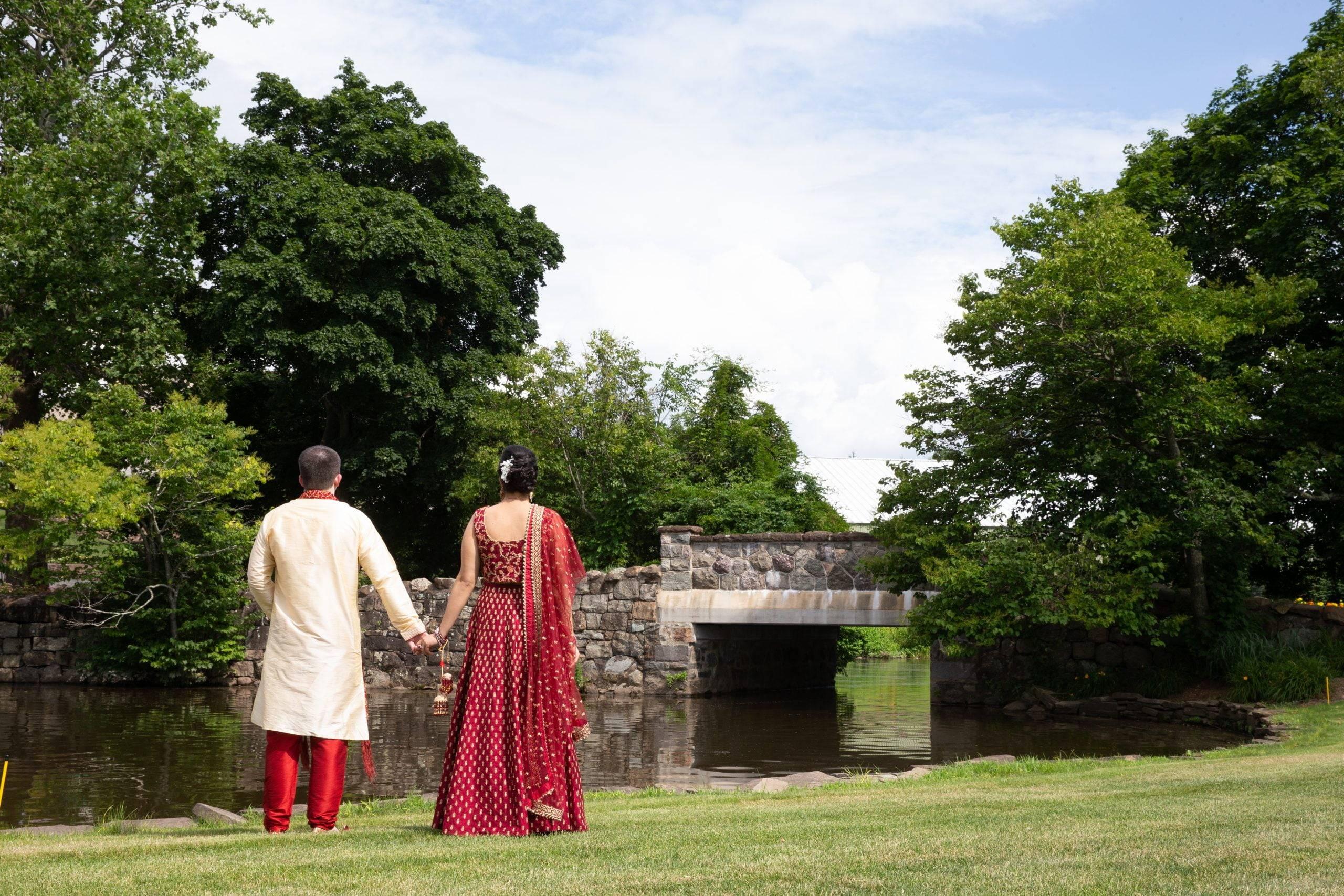Brooklake Indian bride and groom in gardens