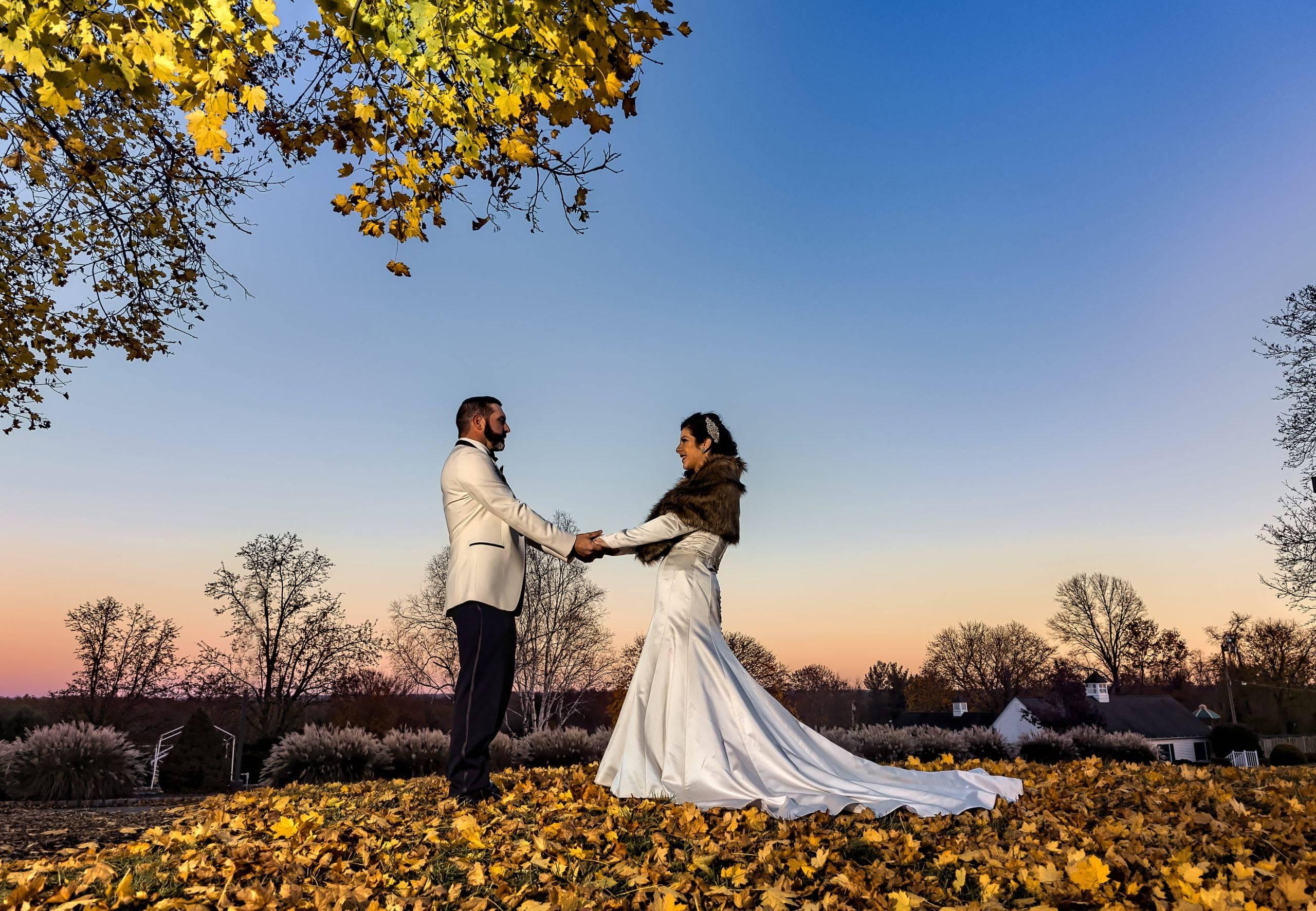 Basking Ridge CC bride and groom autumn wedding