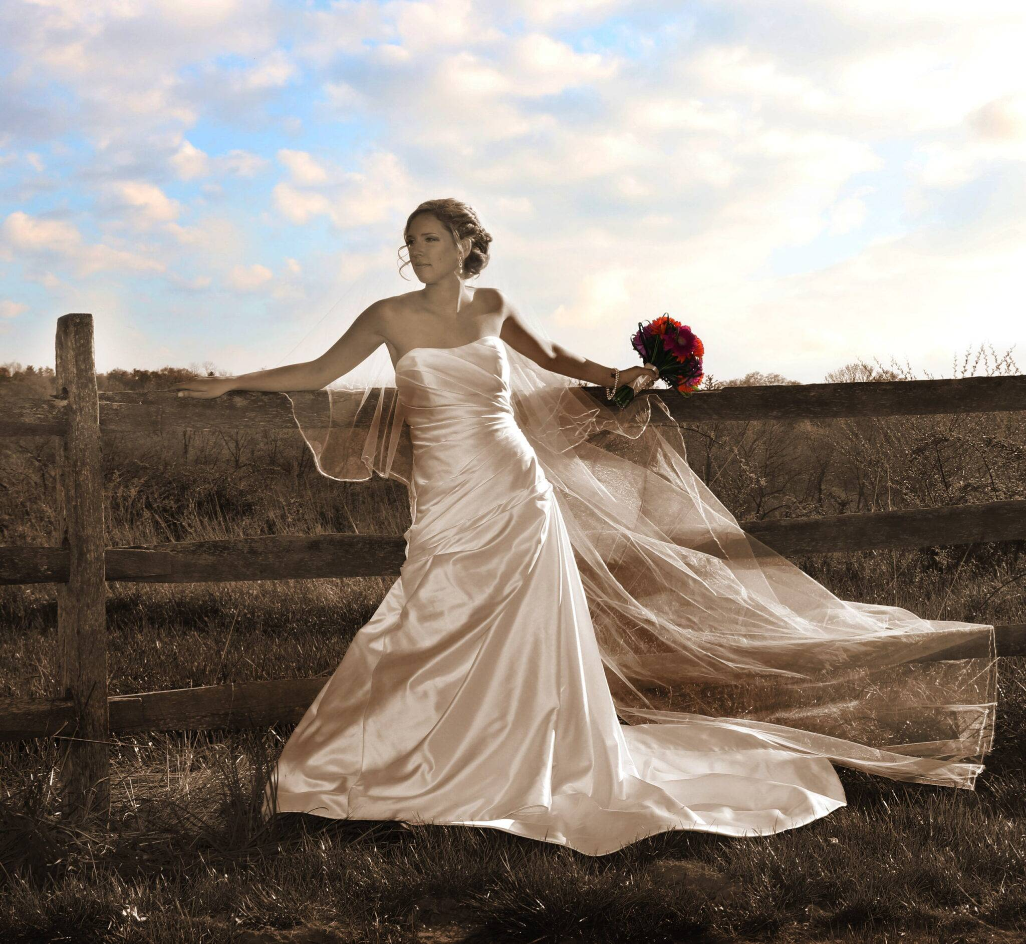 Basking Ridge CC bride by fence