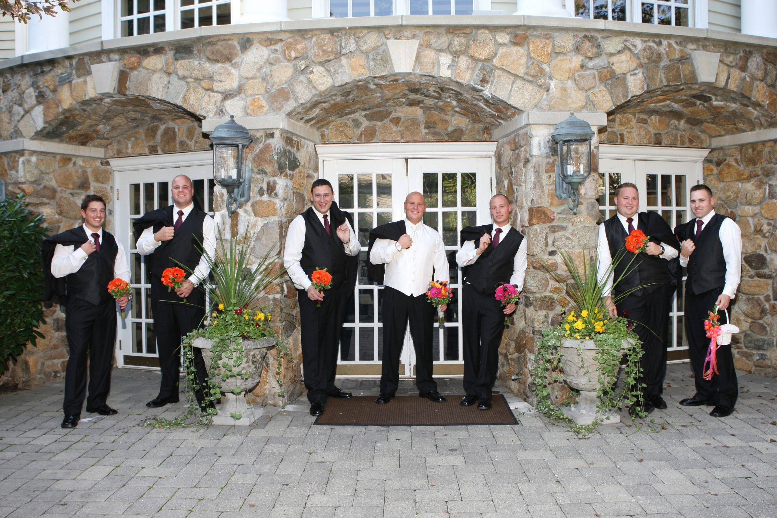 Olde Mill Inn groom with his groomsmen outside