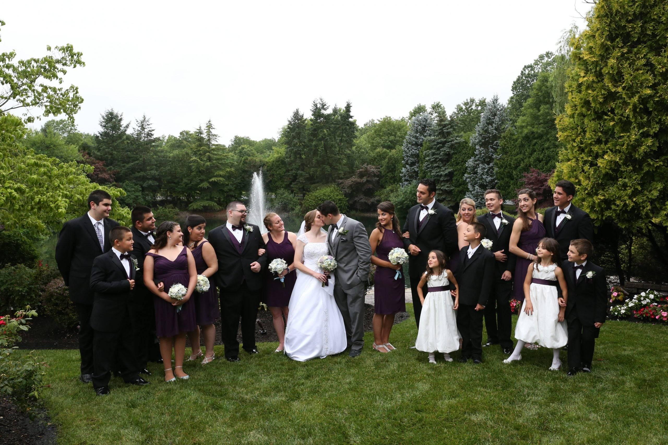 Bridgewater Manor wedding party by fountain