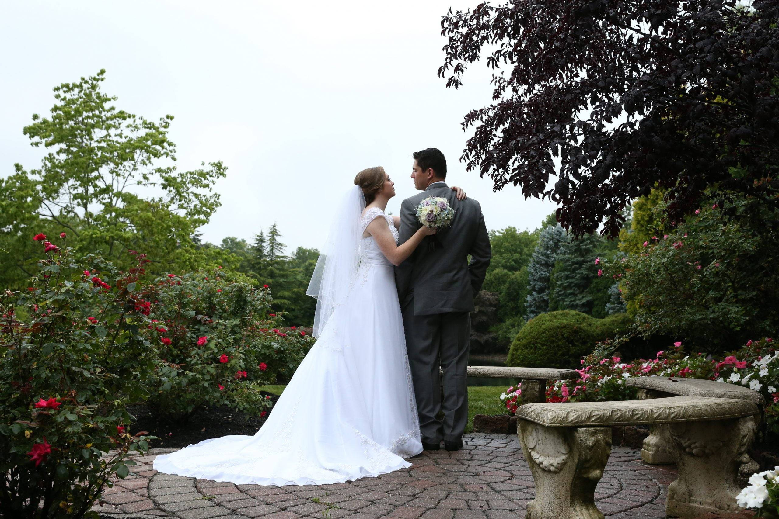 Bridgewater Manor bride and groom on patio