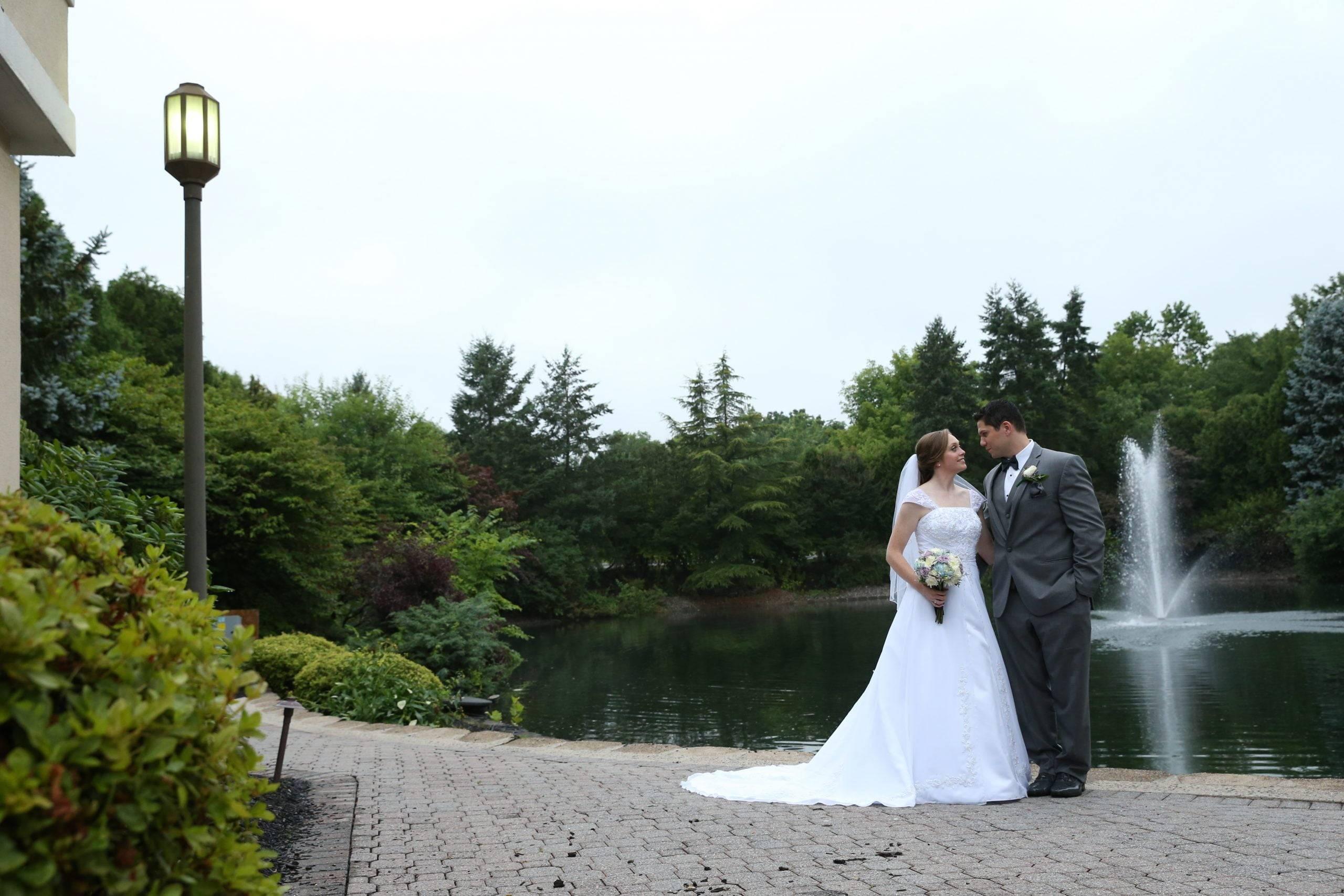 Bridgewater Manor wedding couple on patio at reception