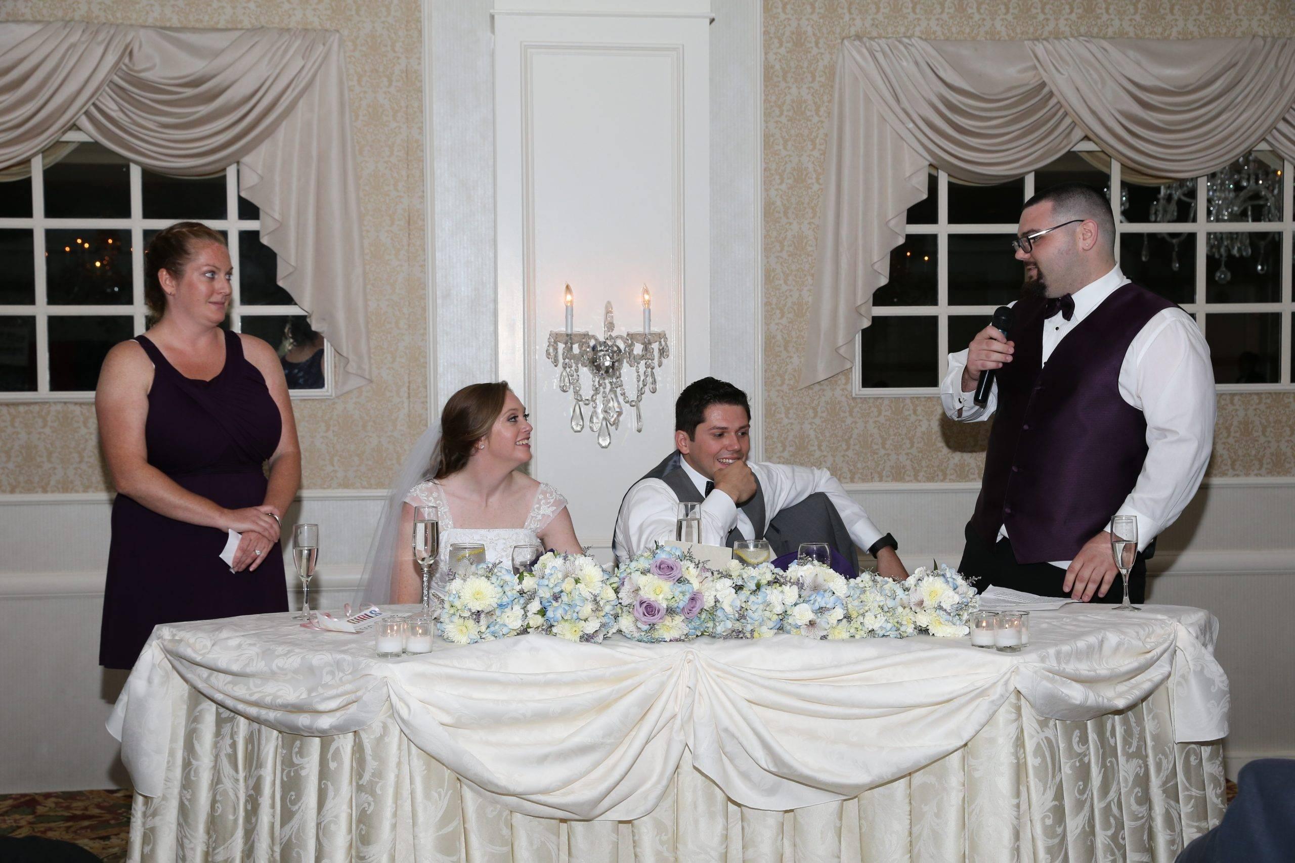 Bridgewater Manor wedding speech to bride and groom