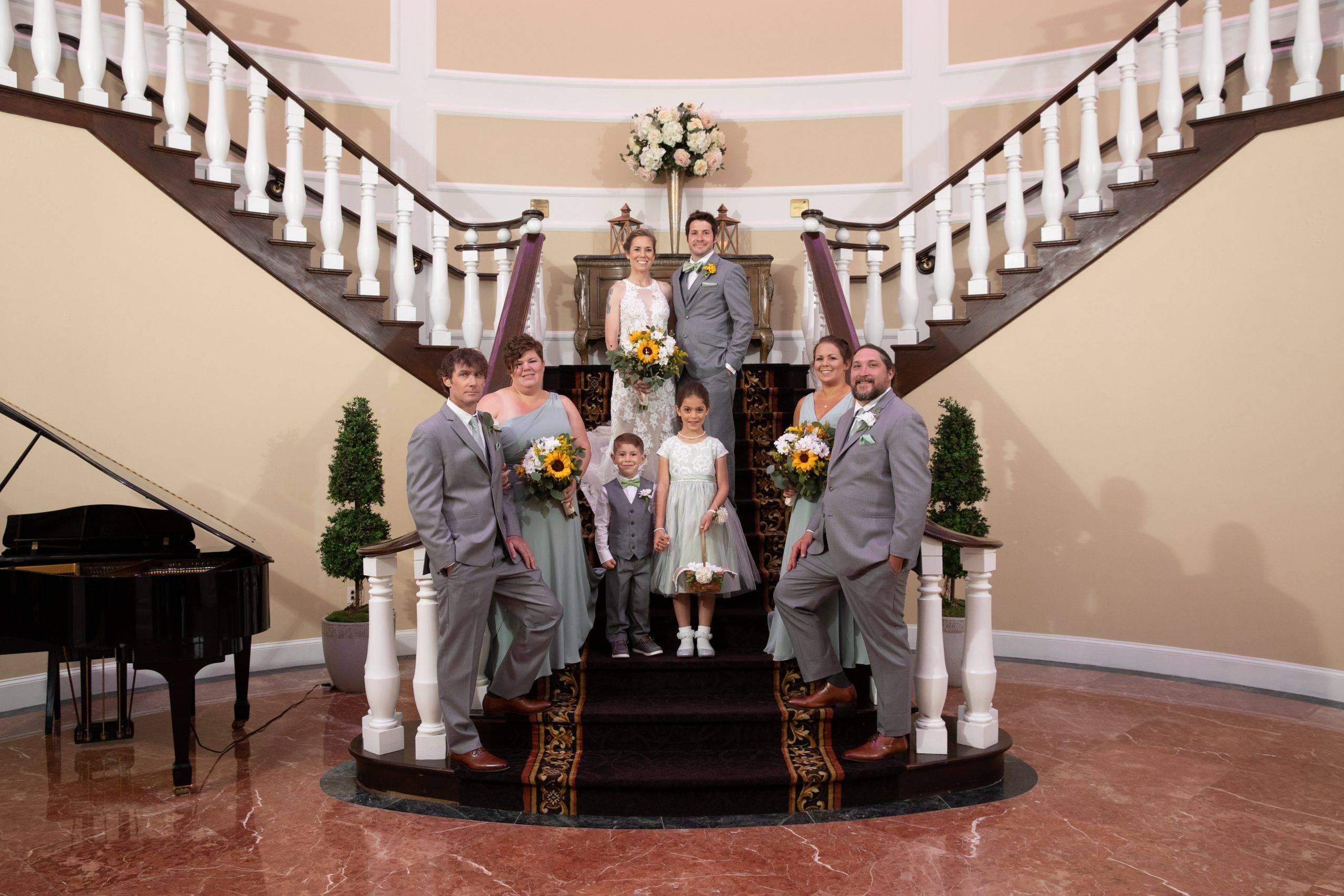 Bridgewater Manor wedding party on staircase