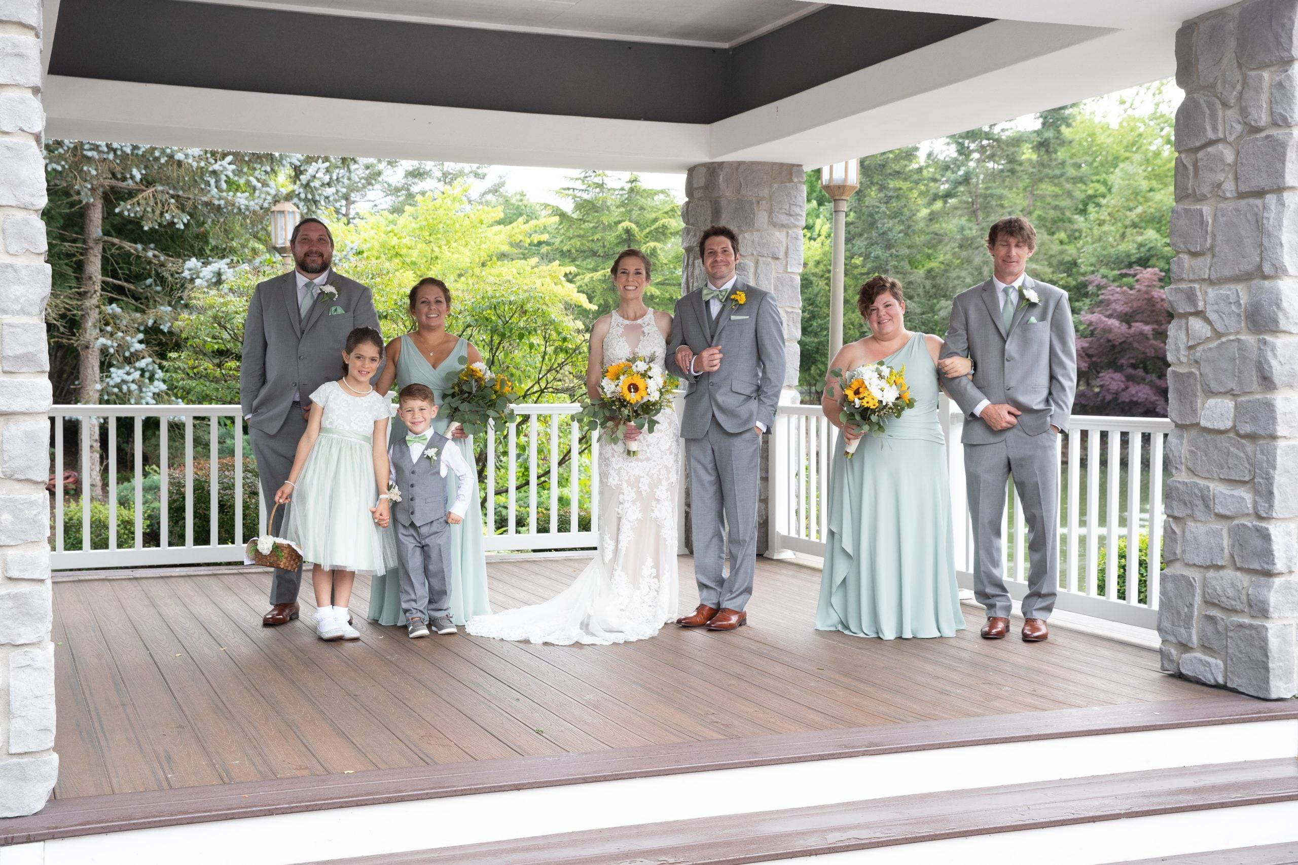 Bridgewater Manor wedding party on covered porch